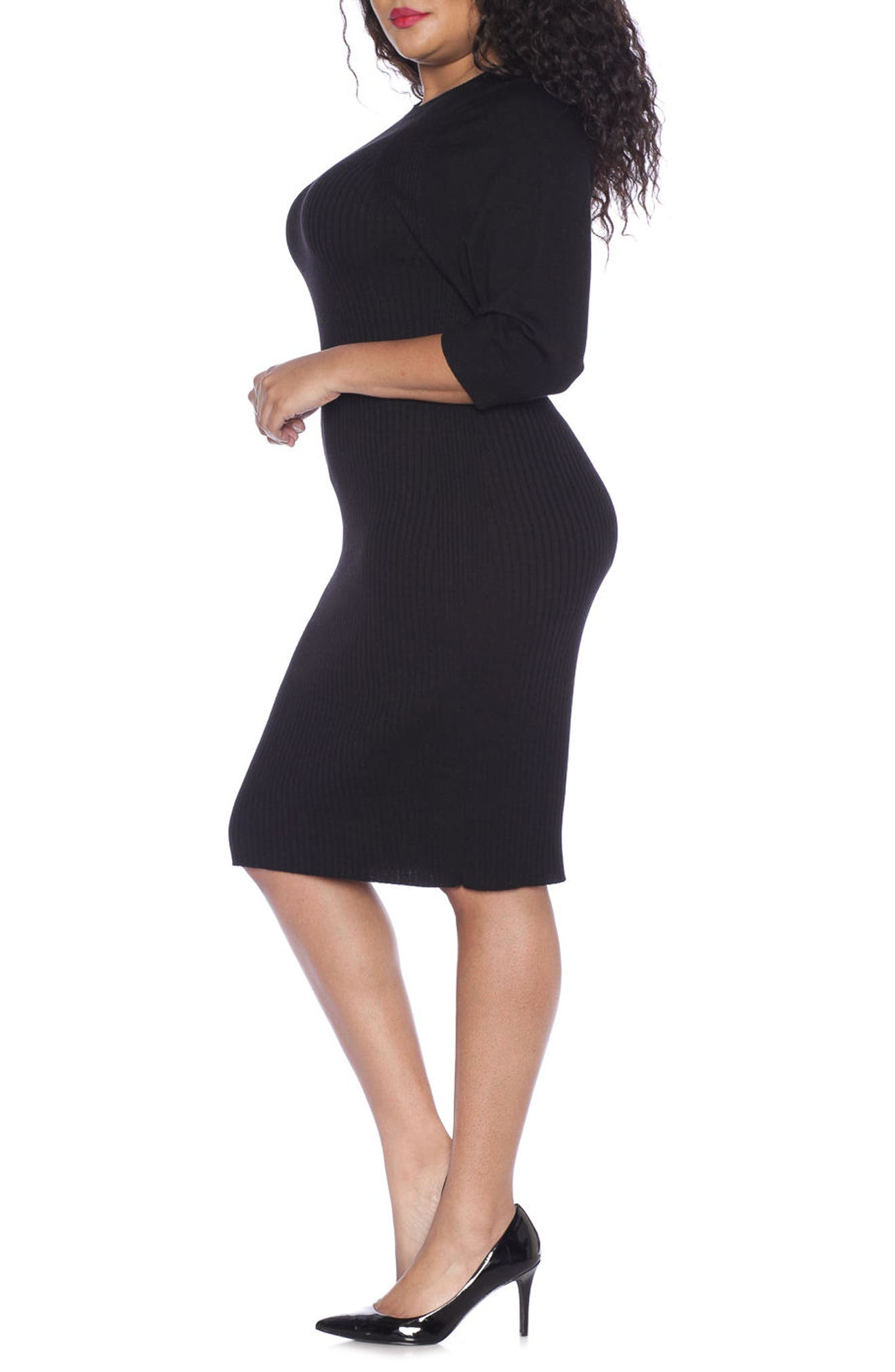 Alternate Image 3  - SLINK Jeans Ribbed Sweater Dress (Plus Size)