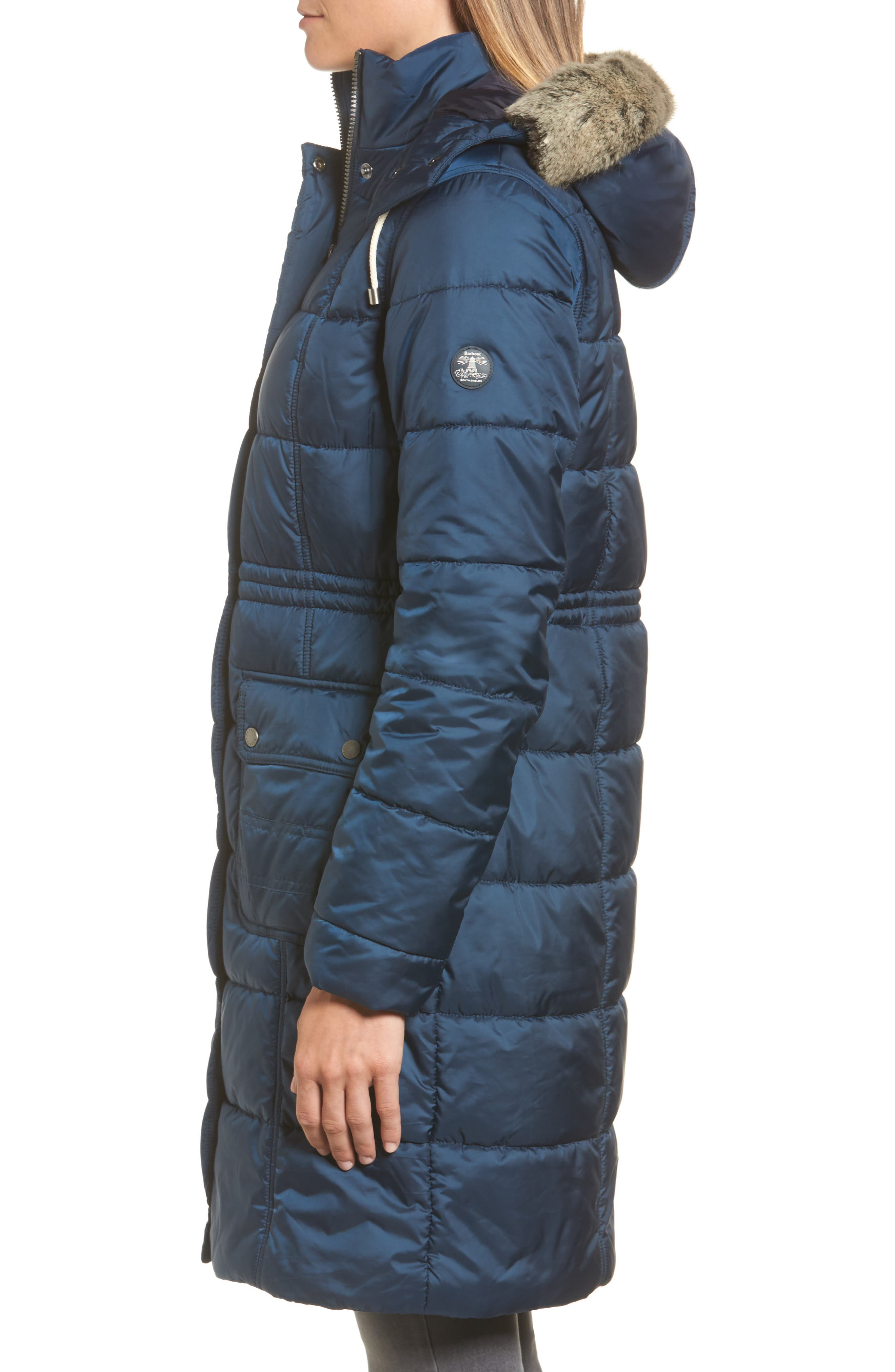 Winterton Water Resistant Hooded Quilted Jacket with Faux Fur Trim,                             Alternate thumbnail 3, color,                             French Navy