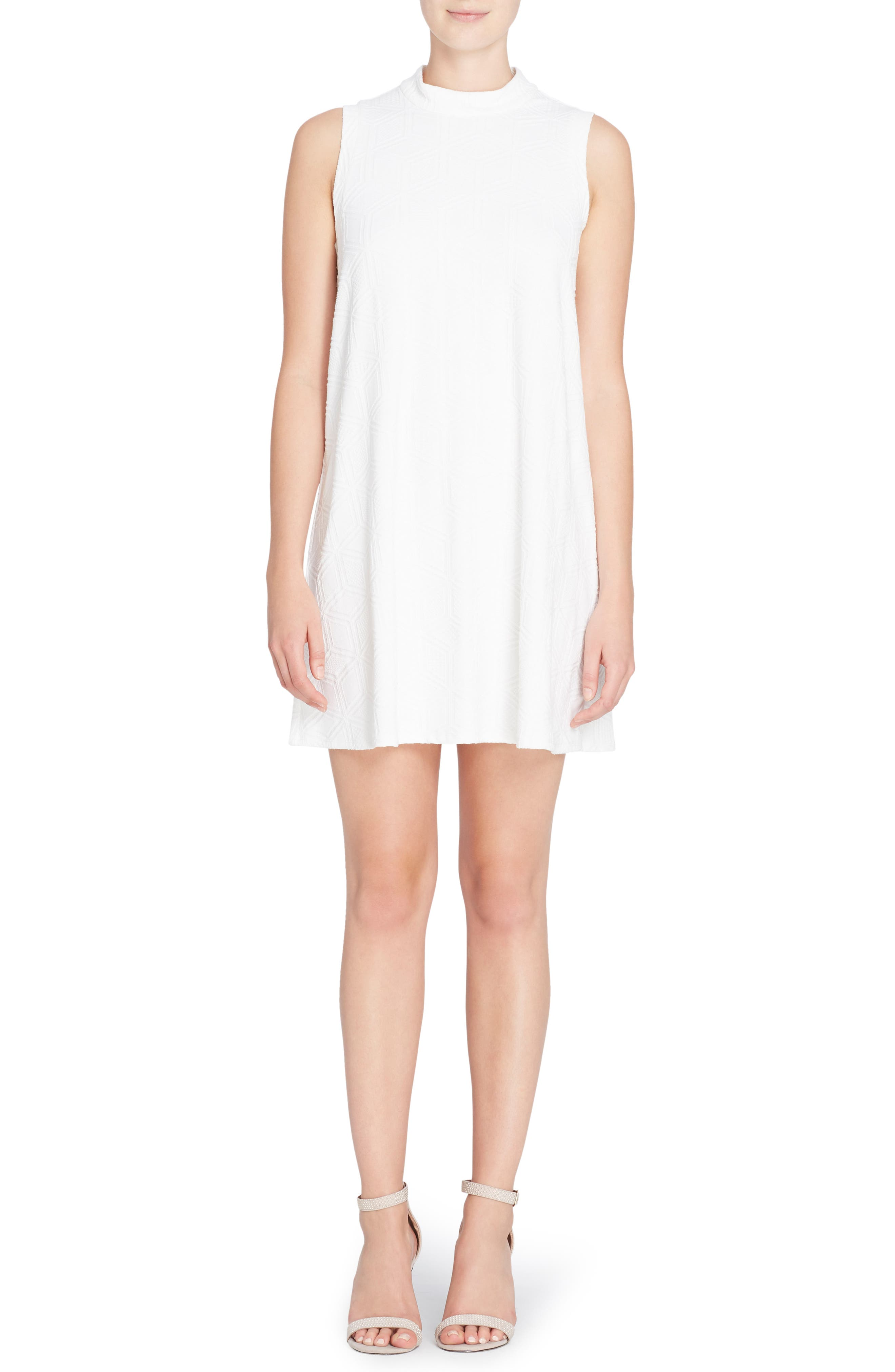 Lonni Geo Textured Dress,                             Main thumbnail 1, color,                             Off White