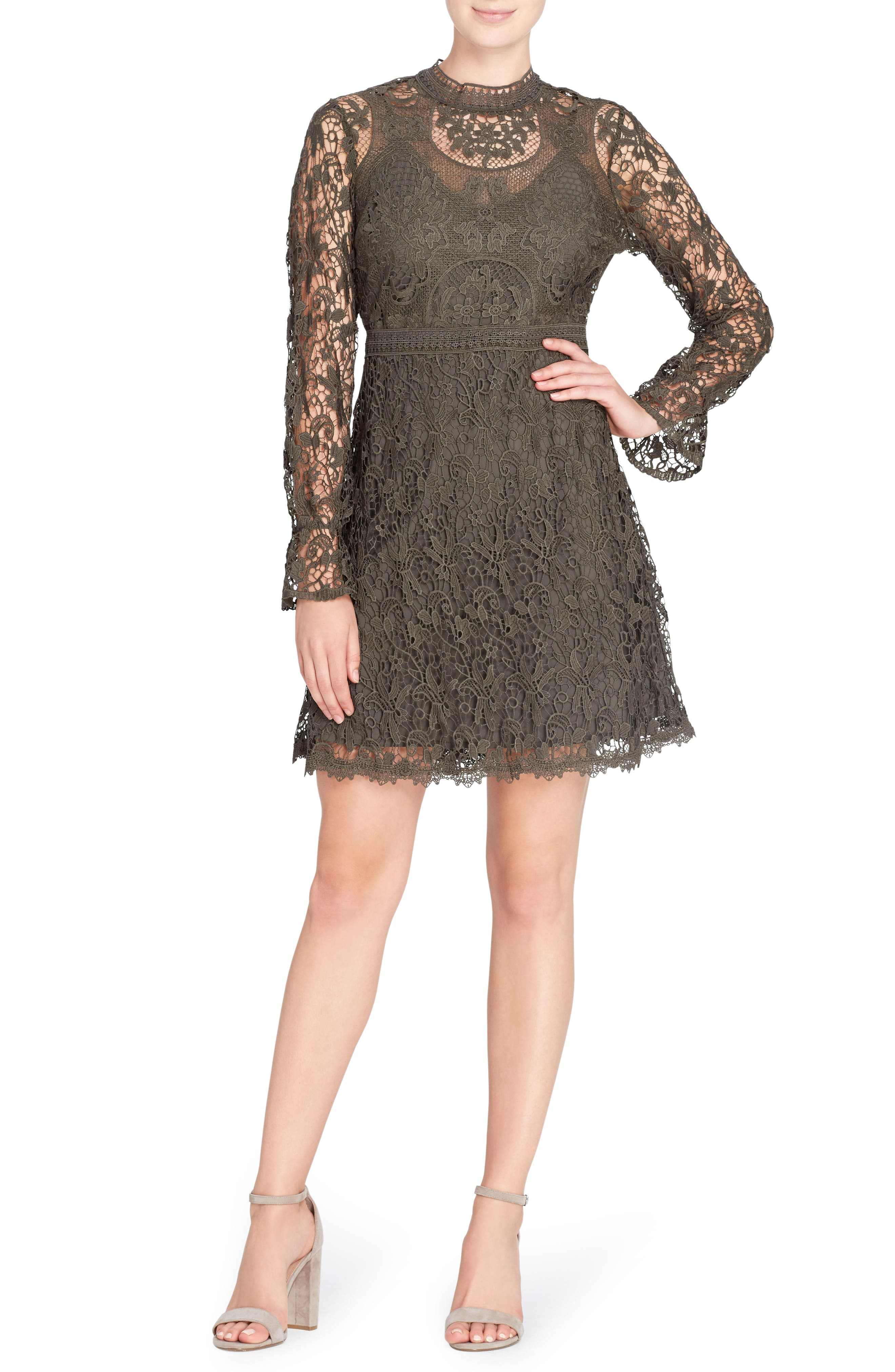 Miia Lace Fit & Flare Dress,                         Main,                         color, Forest Night