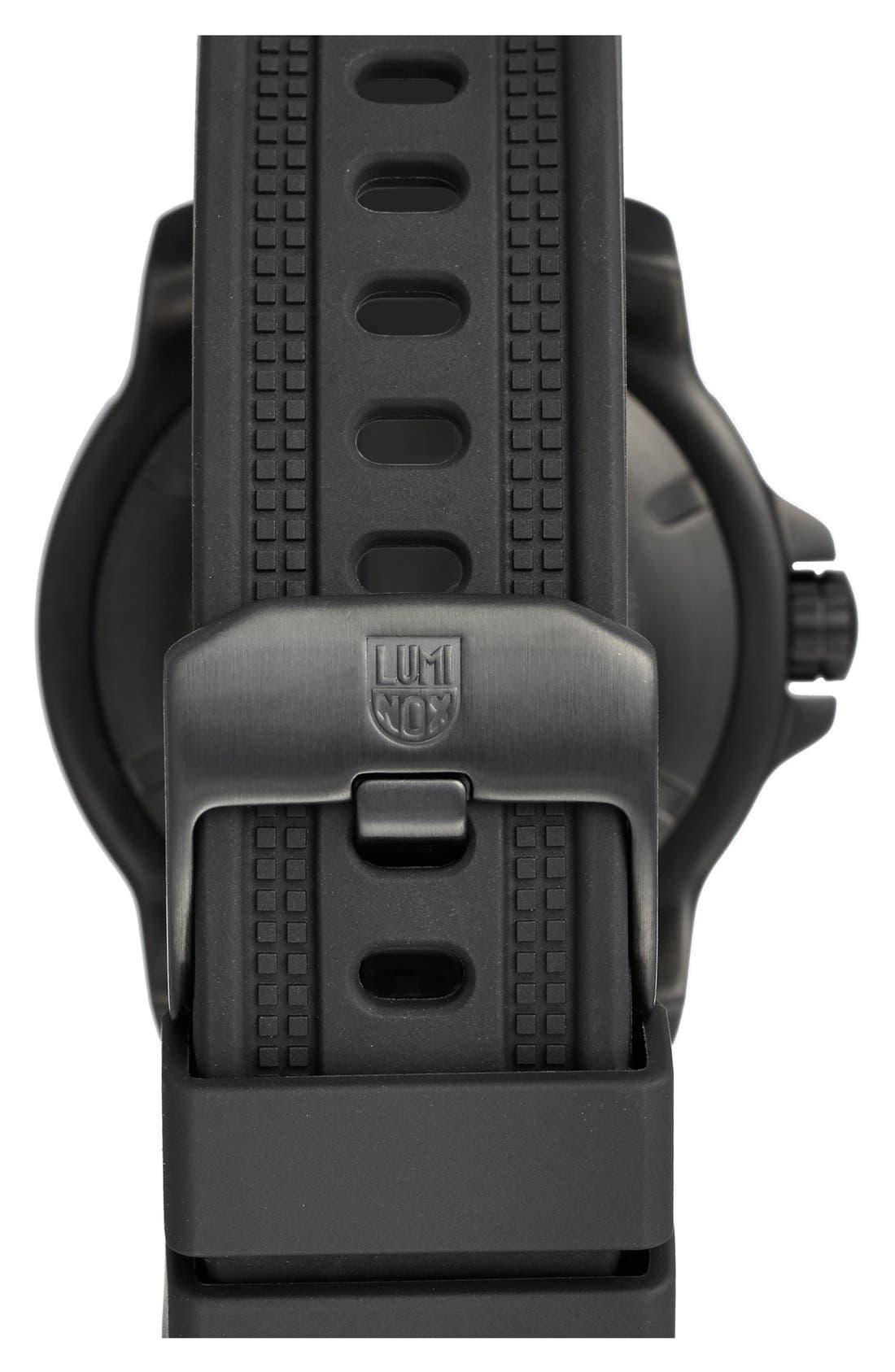 'Sea - ANU' Polyurethane Strap Watch, 45mm,                             Alternate thumbnail 2, color,                             Black/ Black/ Grey