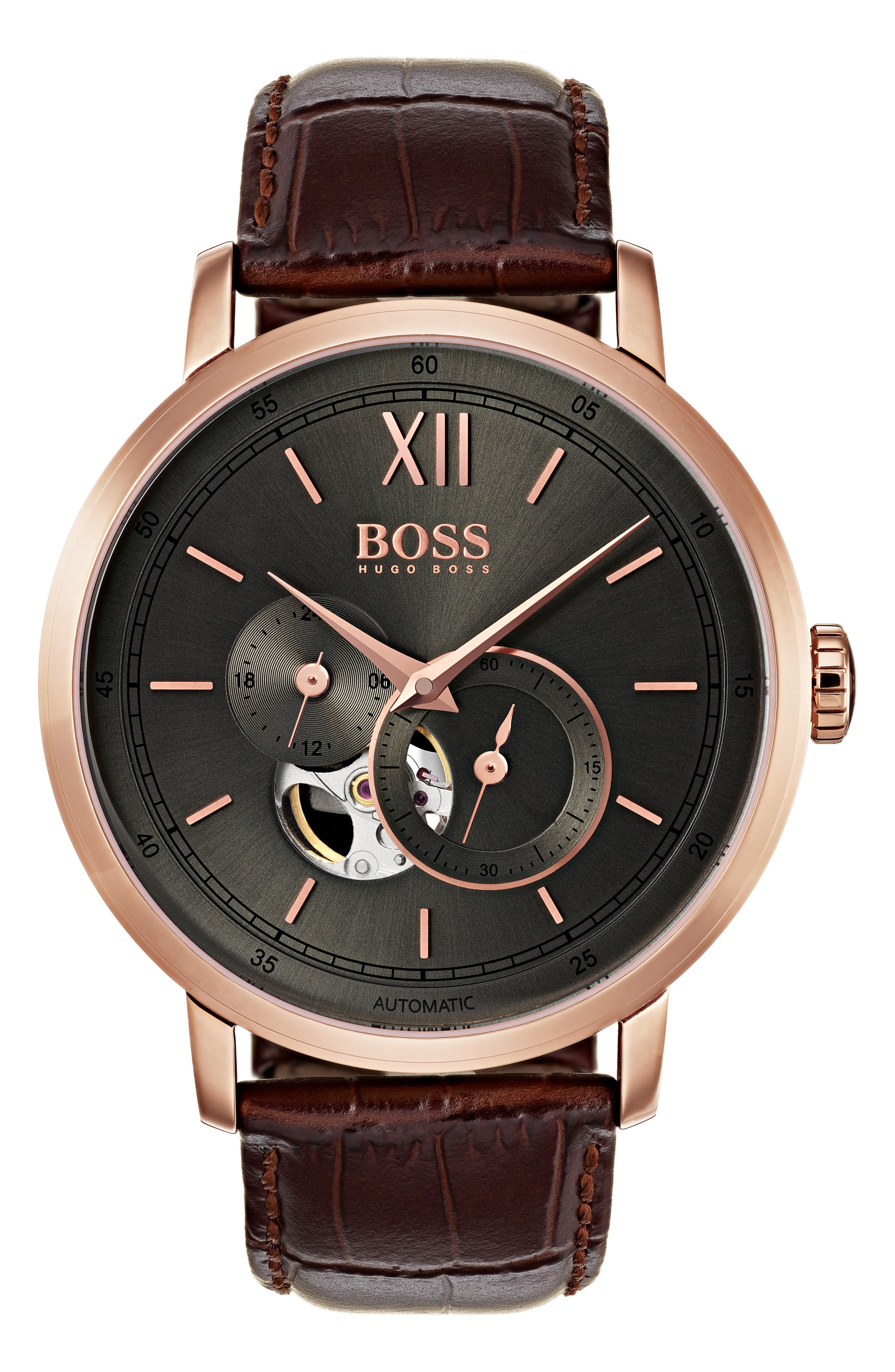 Main Image - BOSS Signature Automatic Leather Strap Watch, 44mm