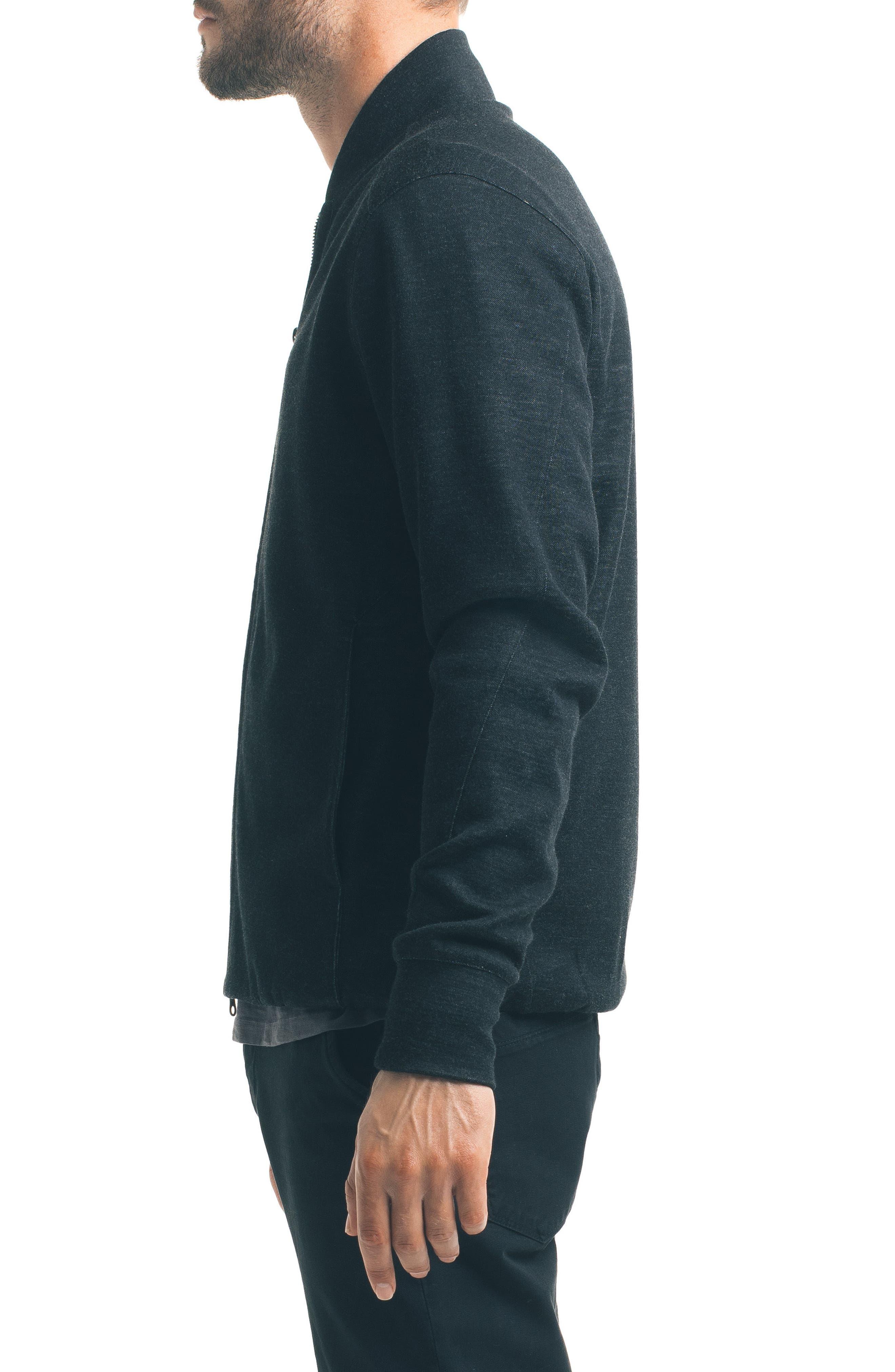Modern Slim Fit Bomber Jacket,                             Alternate thumbnail 3, color,                             Black