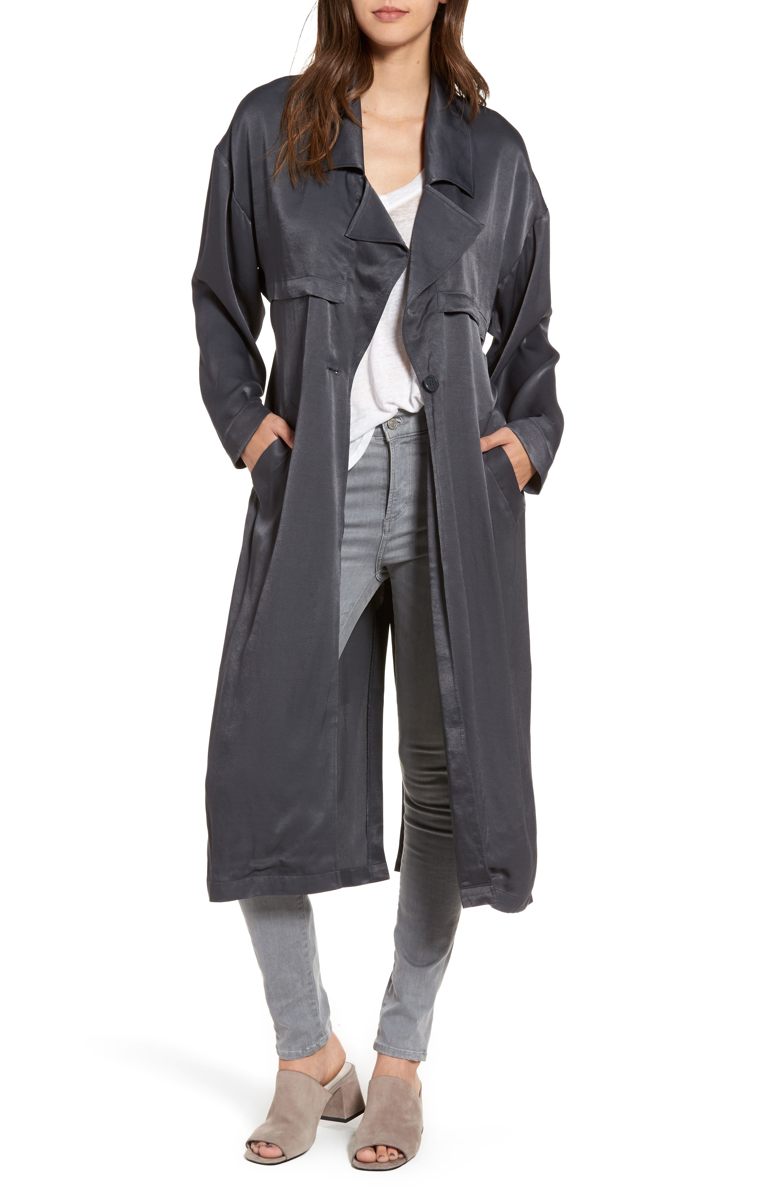 Satin Trench Coat,                         Main,                         color, Navy India Ink