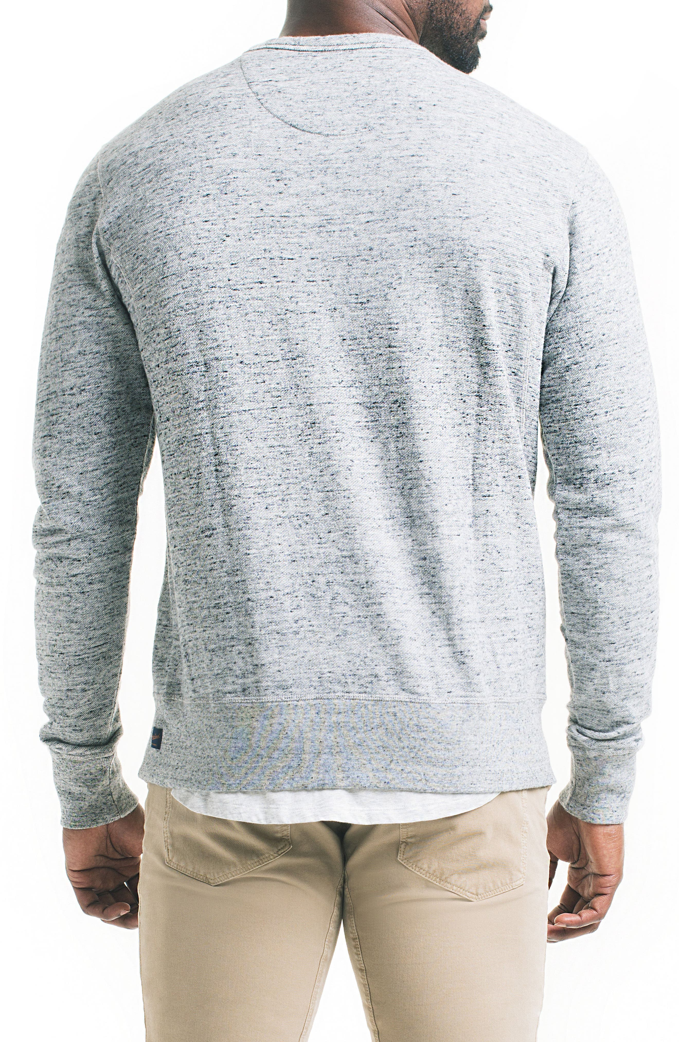 Varsity Slim Slub Sweatshirt,                             Alternate thumbnail 2, color,                             Charcoal Heather