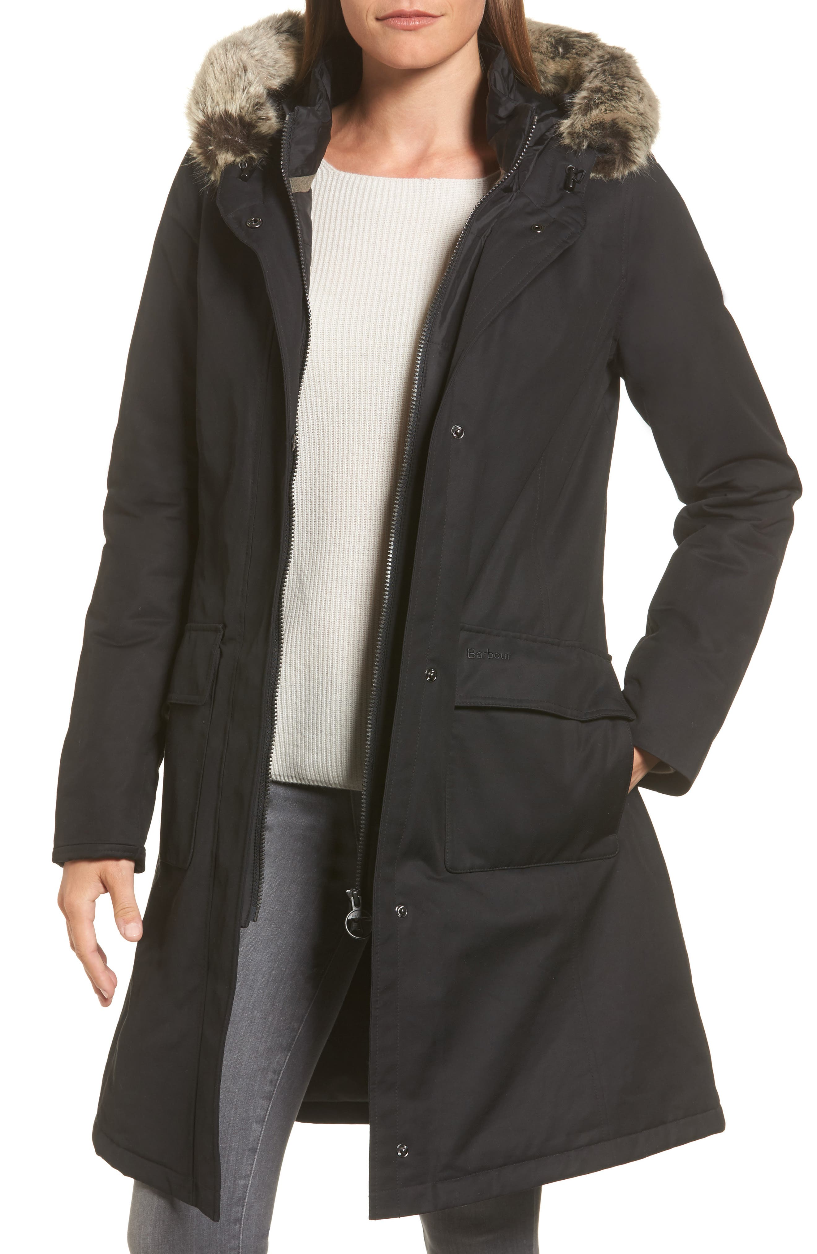 Linton Hooded Waterproof Jacket with Faux Fur Trim,                         Main,                         color, Black