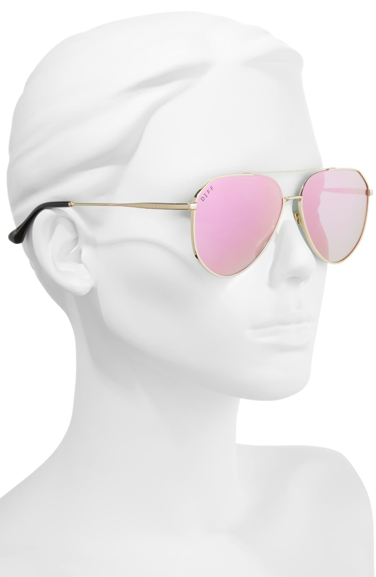 Alternate Image 2  - DIFF x Jessie James Decker Dash 61mm Polarized Aviator Sunglasses