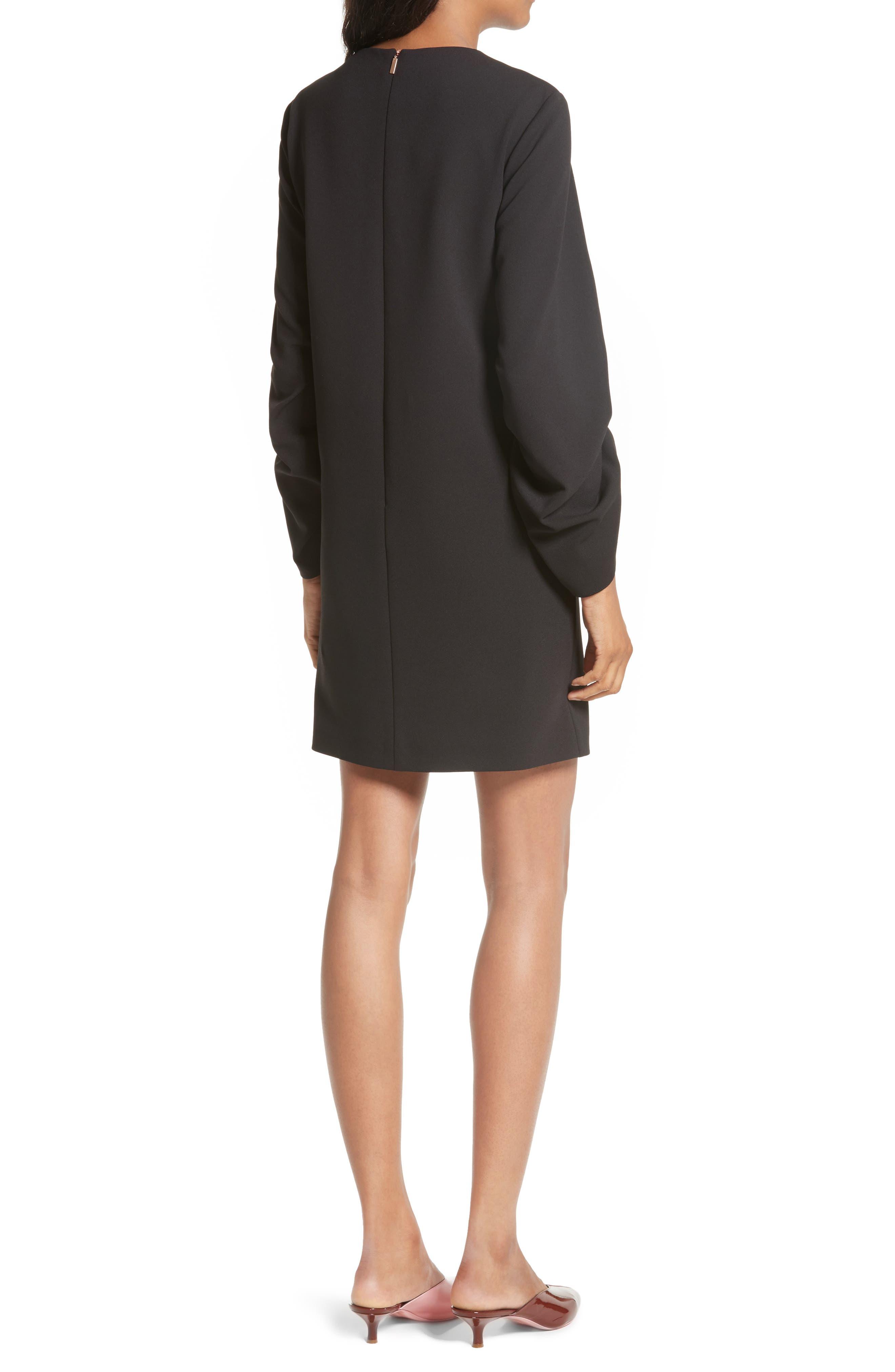 Crepe Ruched Sleeve Shift Dress,                             Alternate thumbnail 2, color,                             Black