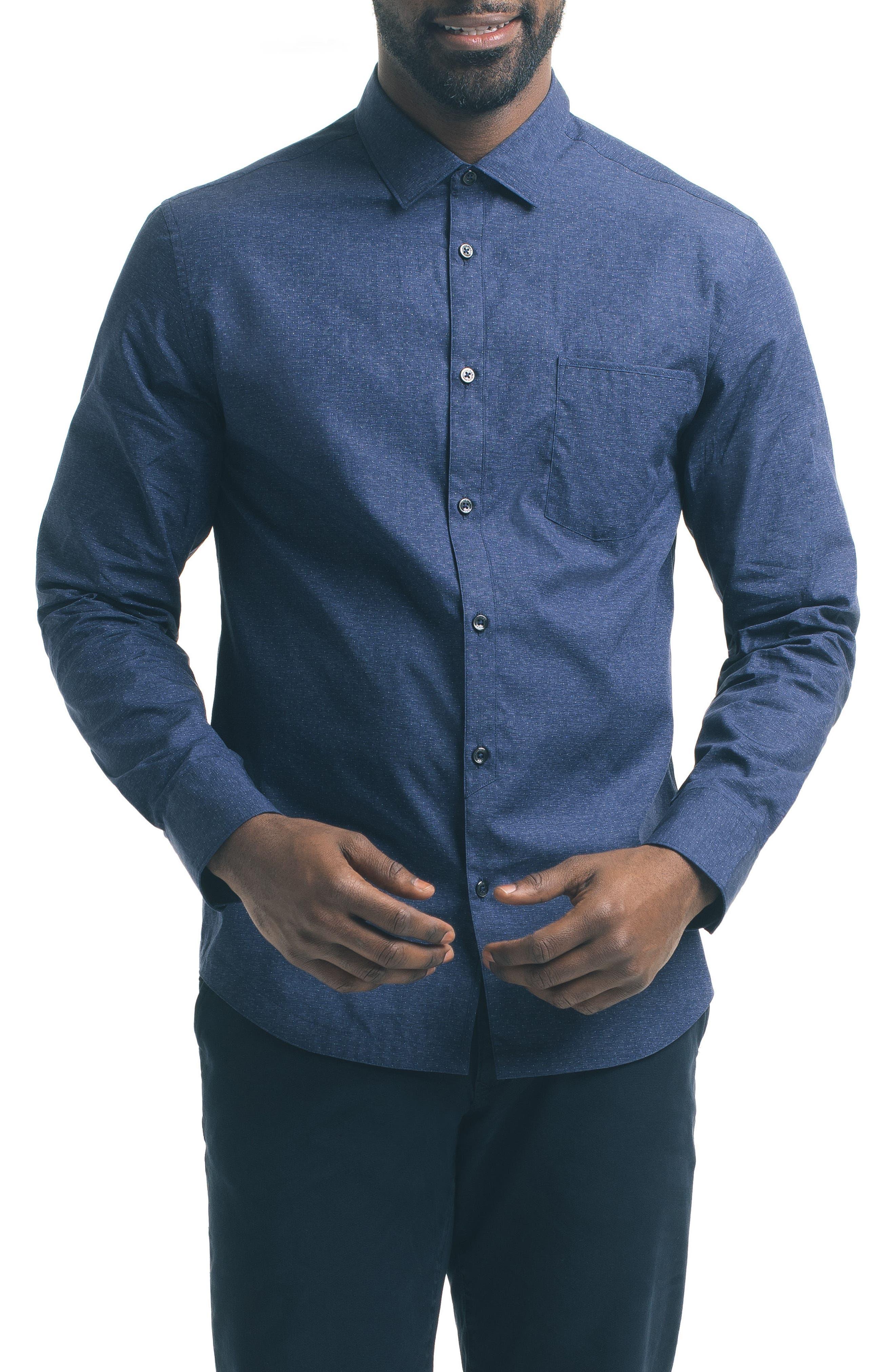 Slim Fit Blue Dot Sport Shirt,                         Main,                         color, Blue