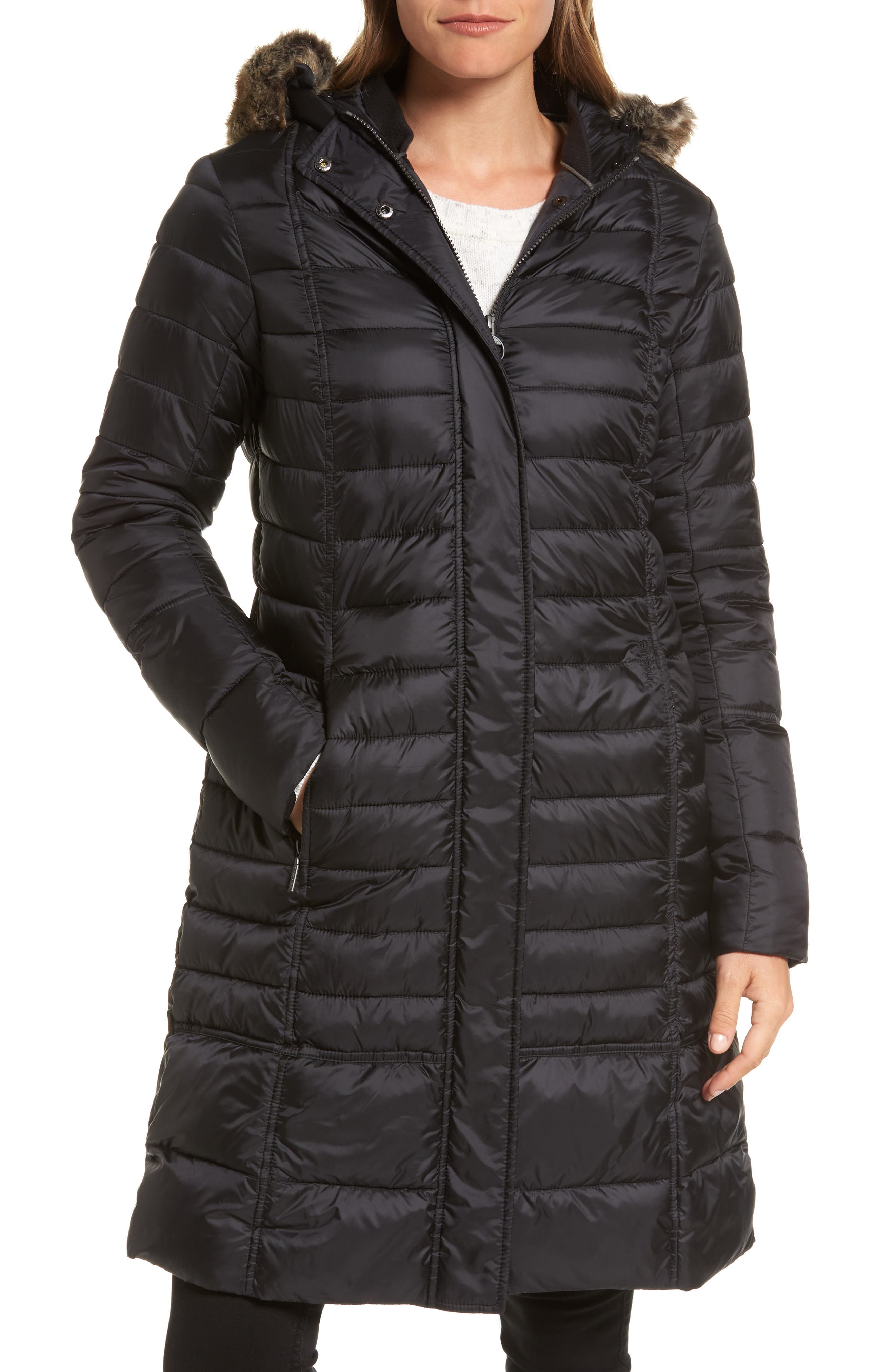 Main Image - Barbour Fortrose Hooded Quilted Coat with Faux Fur Trim
