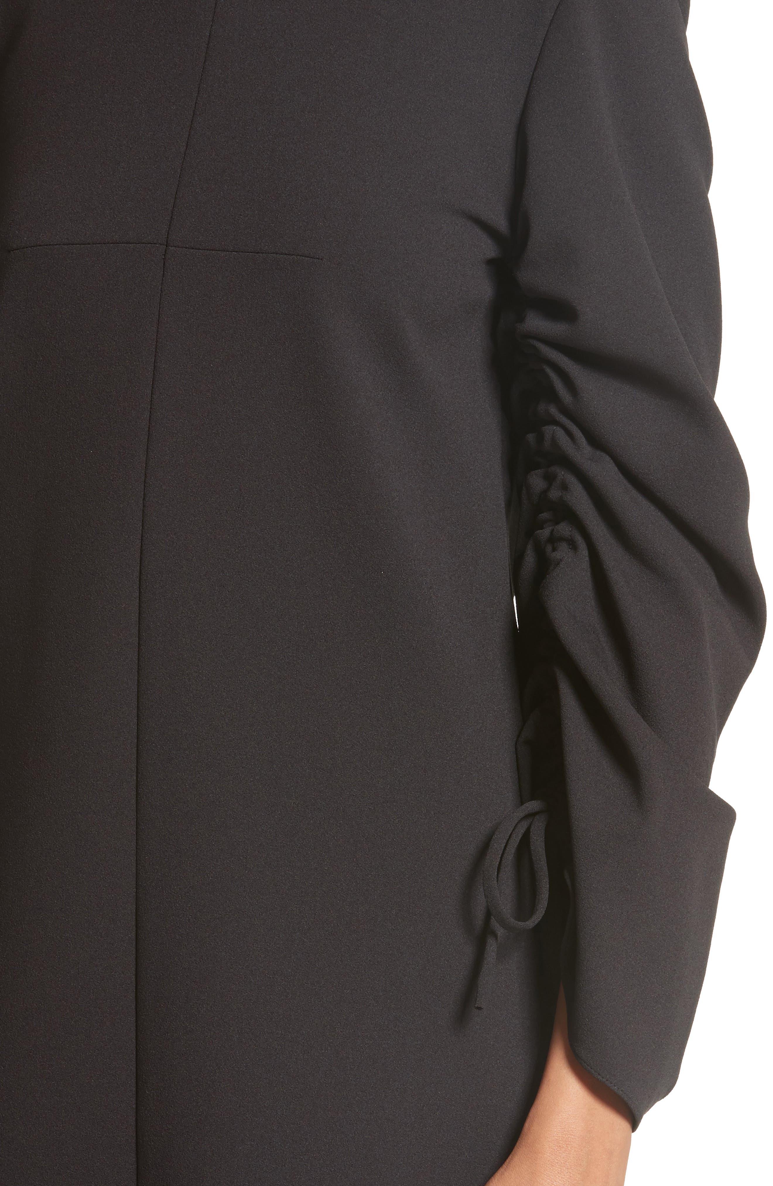 Crepe Ruched Sleeve Shift Dress,                             Alternate thumbnail 4, color,                             Black