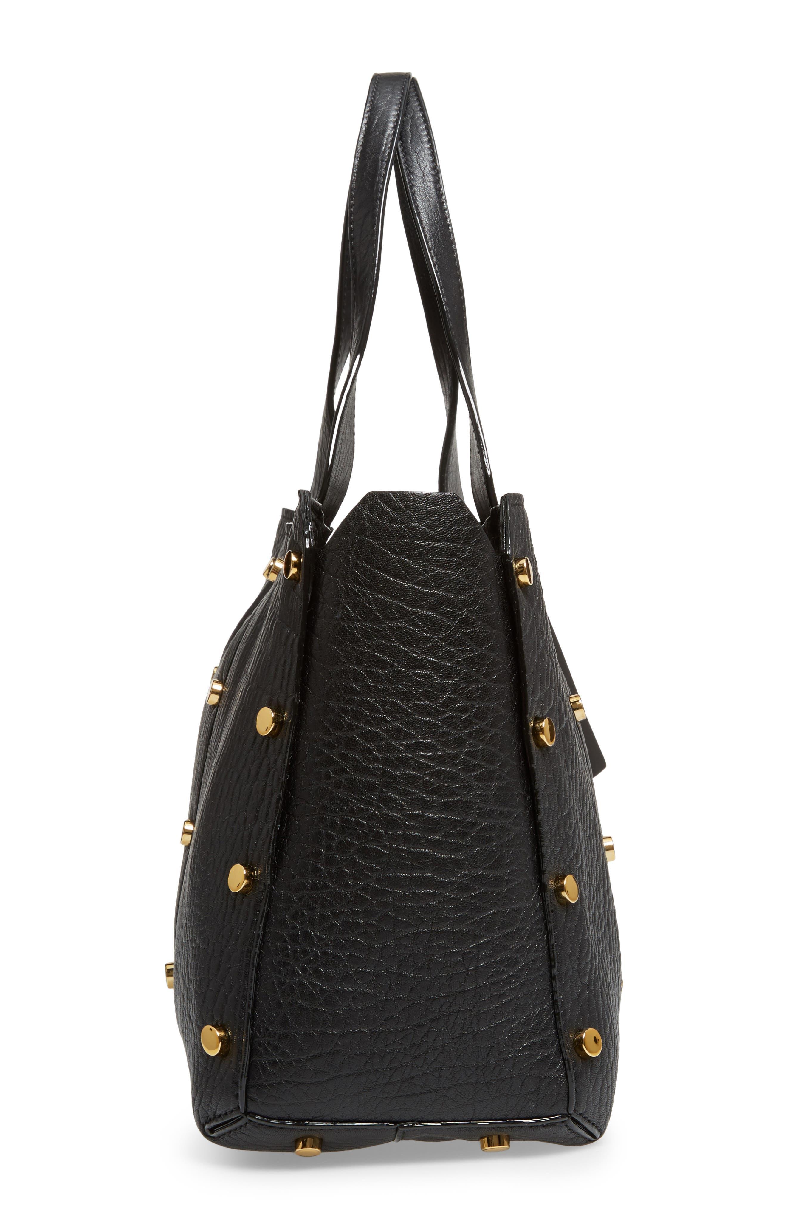 Lockett Leather Shopper,                             Alternate thumbnail 5, color,                             Black