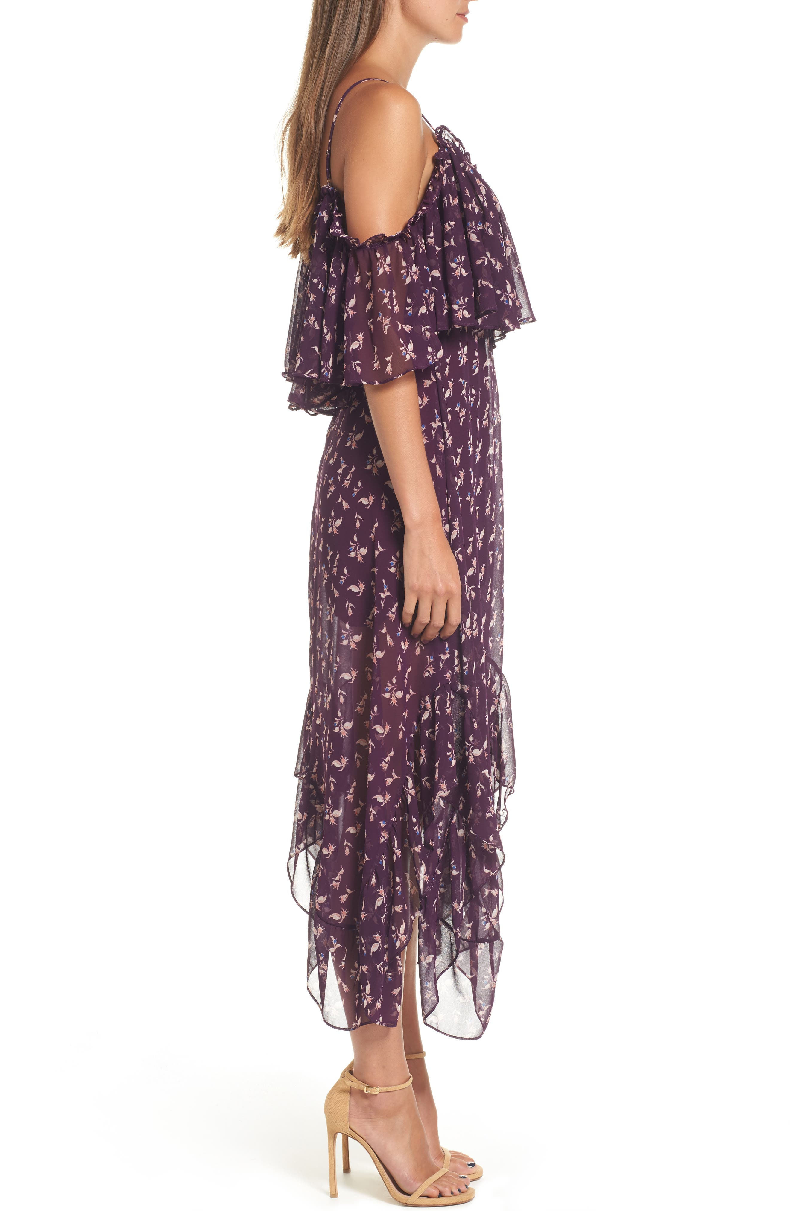Desi Cold Shoulder Midi Dress,                             Alternate thumbnail 3, color,                             Purple Multi