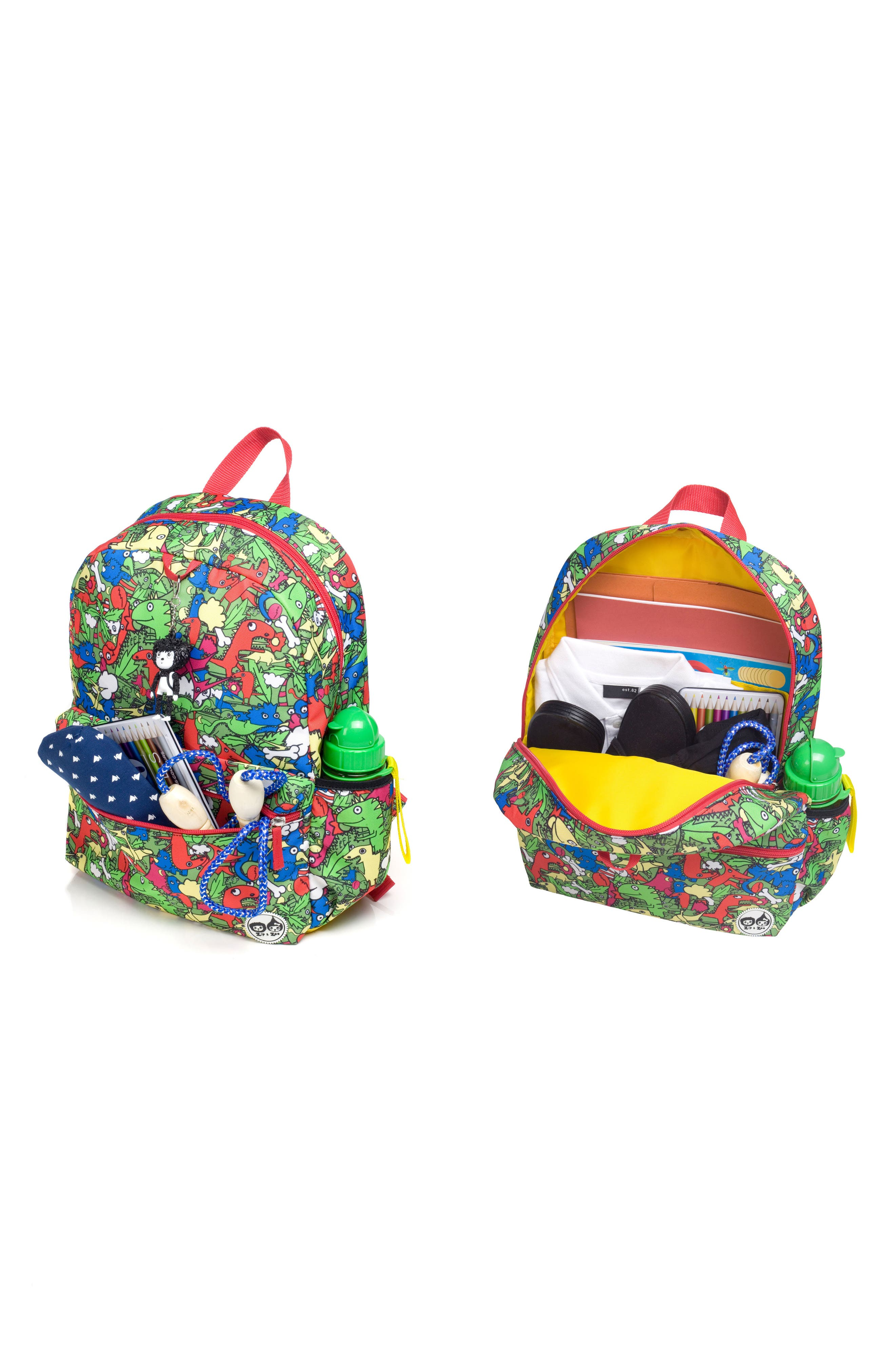 Zip & Zoe Junior Backpack Set,                             Alternate thumbnail 8, color,                             Dino Multi/ Dylan