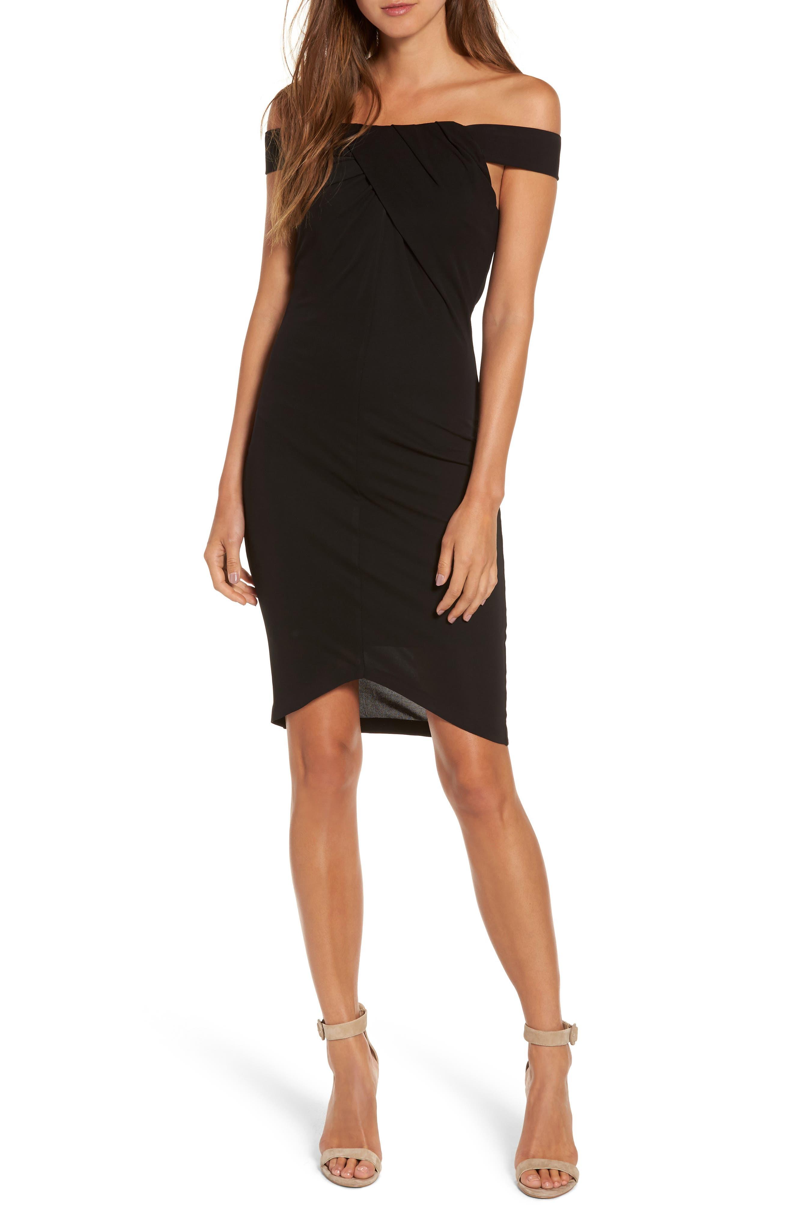 Off the Shoulder Body-Con Dress,                         Main,                         color, Black