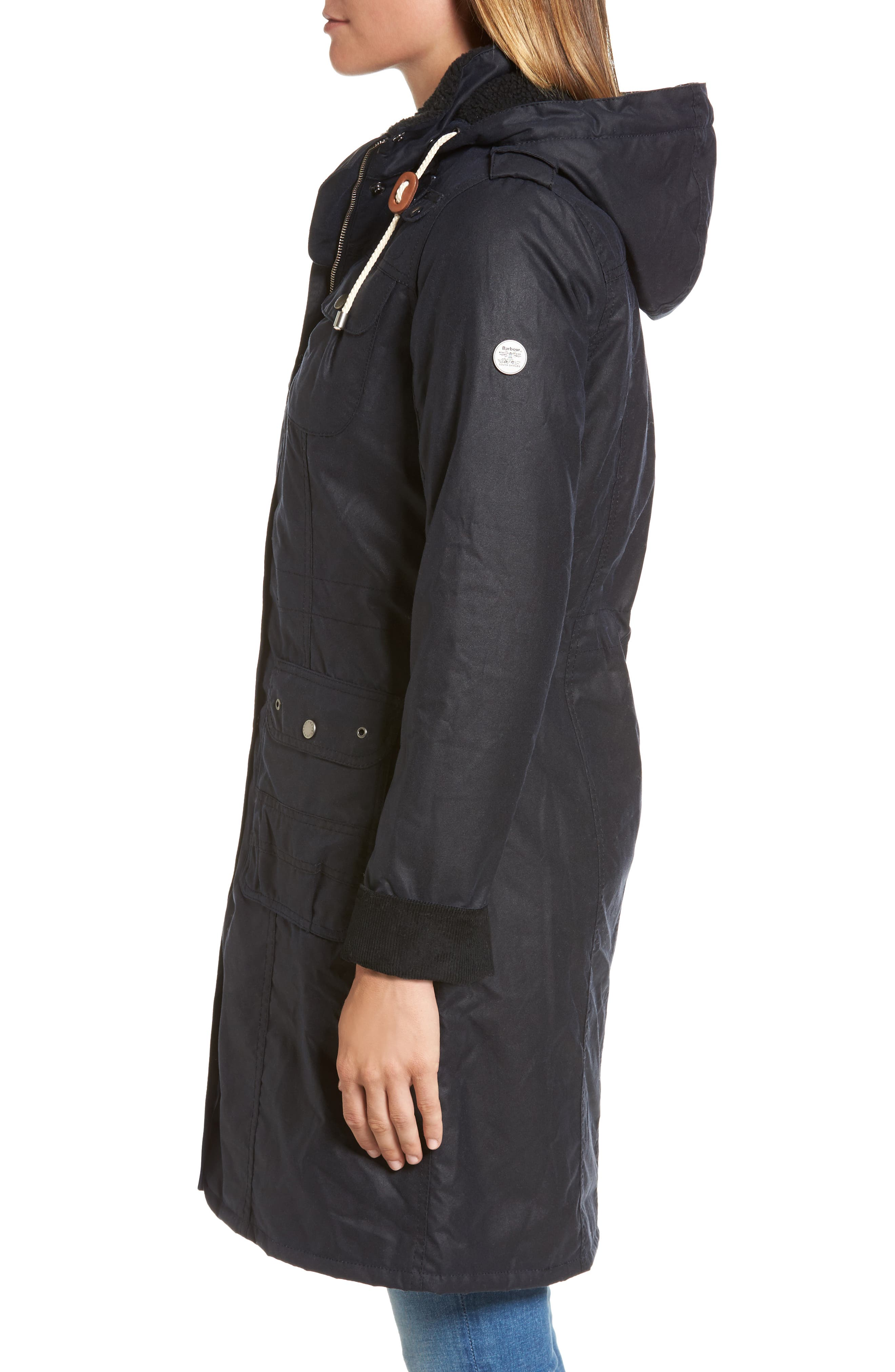 Winterton Hooded Water Repellent Waxed Canvas Jacket,                             Alternate thumbnail 3, color,                             Royal Navy