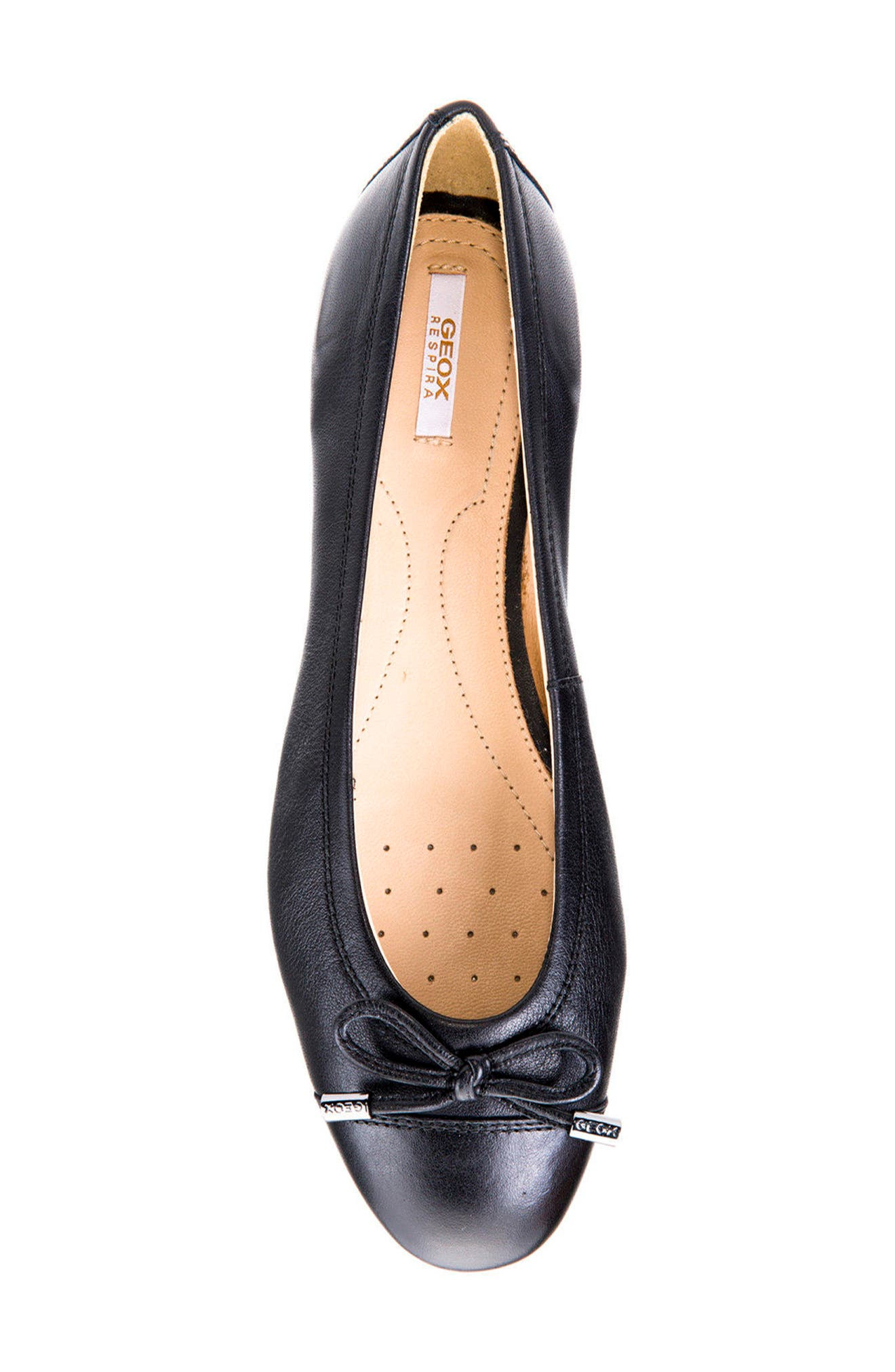 Lola Water Resistant Flat,                             Alternate thumbnail 5, color,                             Black Leather