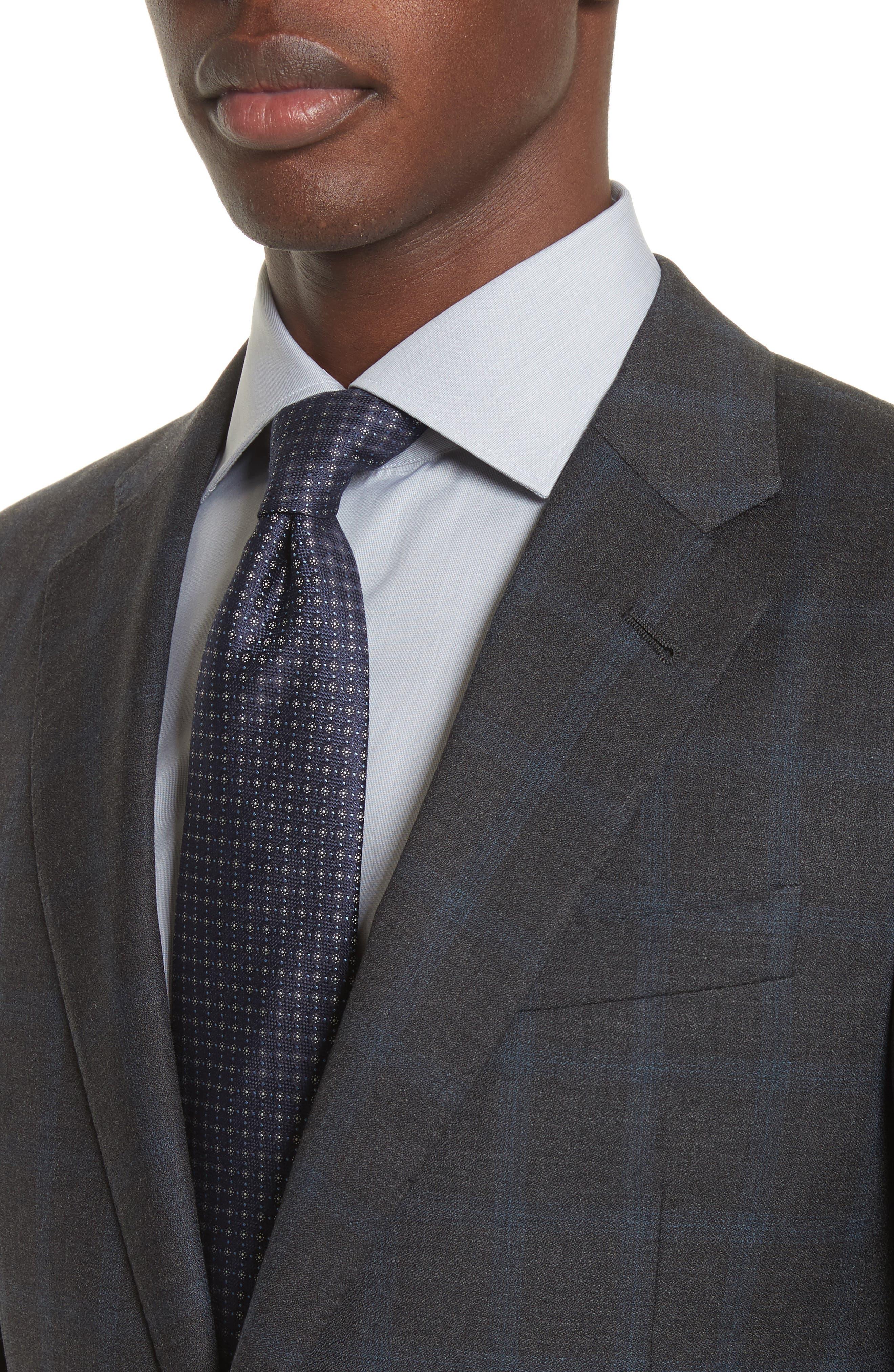 G-Line Trim Fit Plaid Wool Suit,                             Alternate thumbnail 4, color,                             Black
