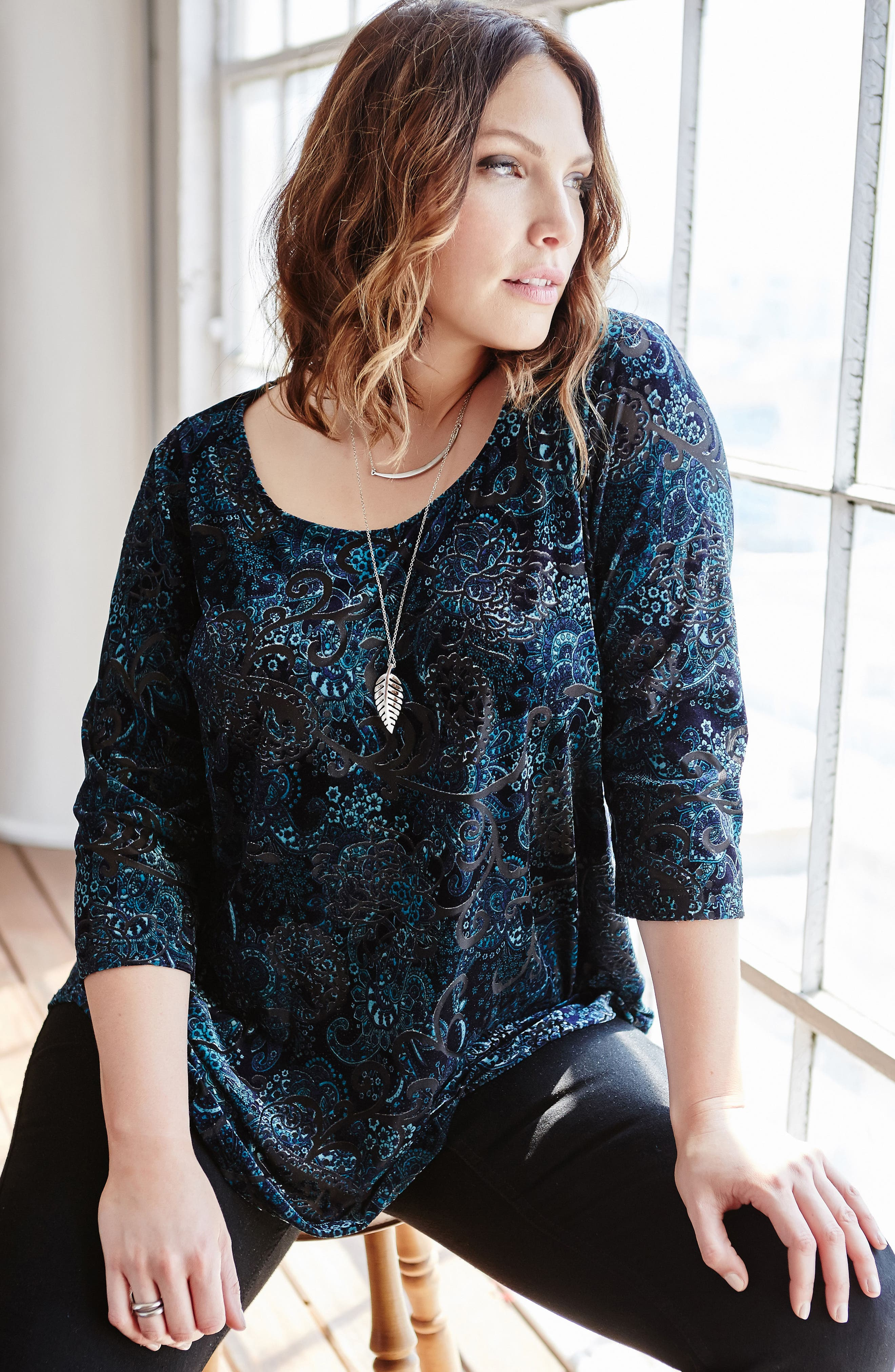 Alternate Image 2  - Karen Kane Velvet Burnout Top (Plus Size)
