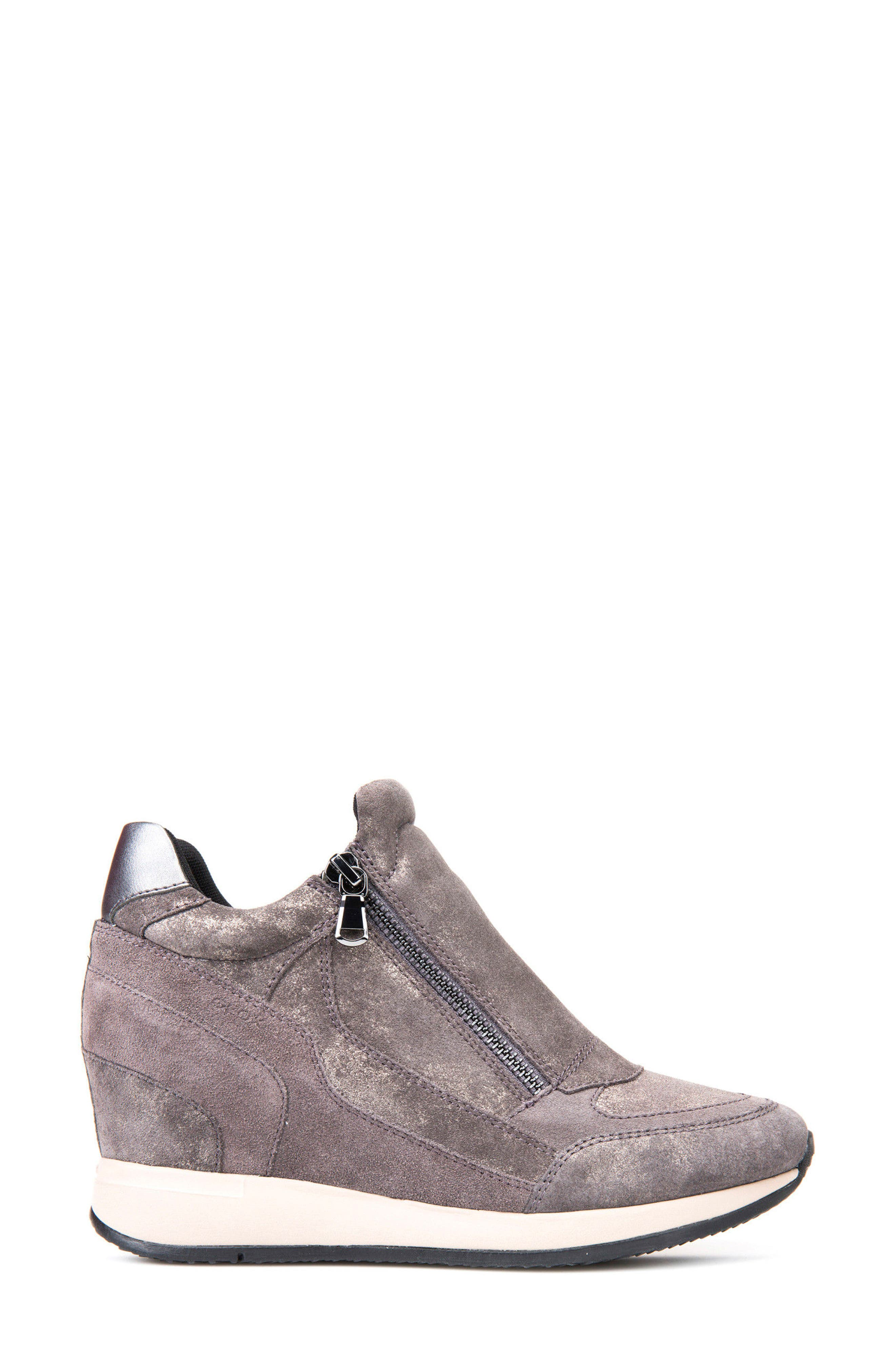 Nydame Wedge Sneaker,                             Alternate thumbnail 3, color,                             Dark Grey Leather