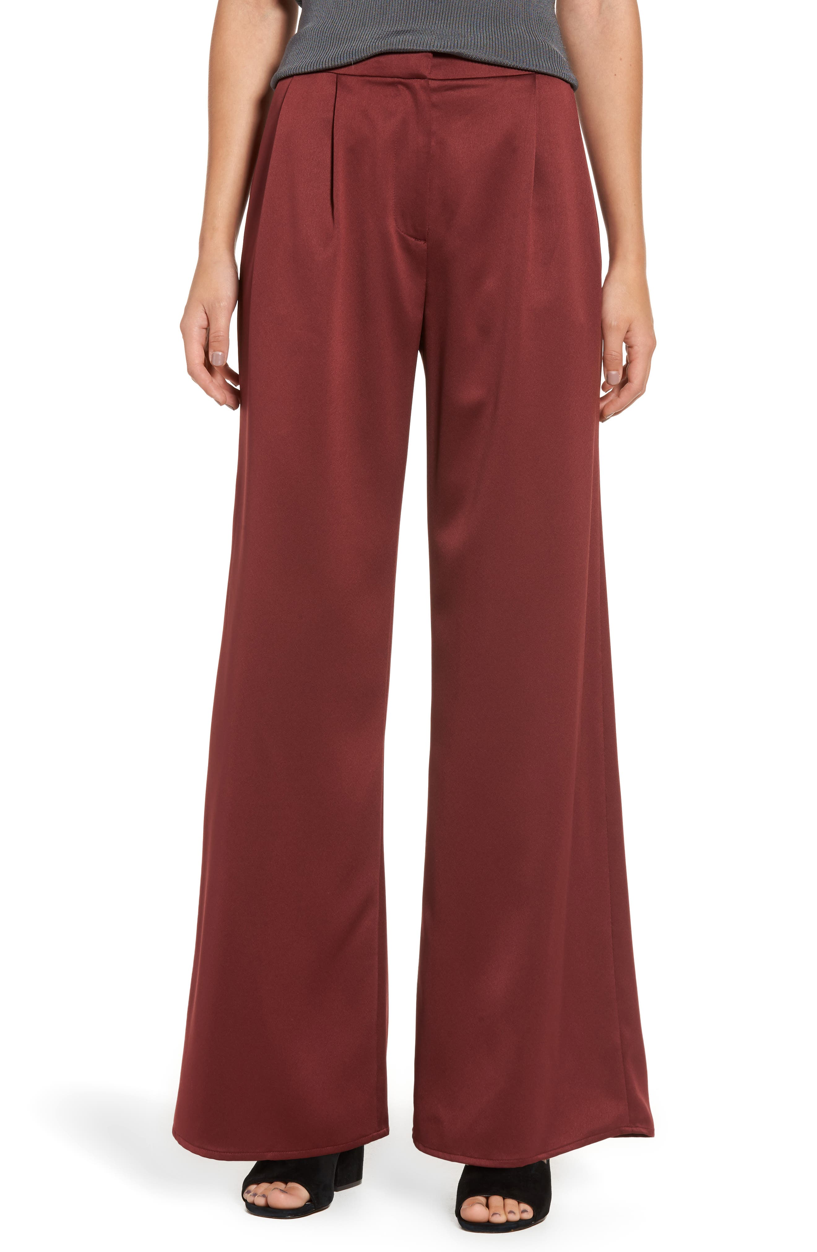 Wide Leg Satin Trousers,                         Main,                         color, Red Tannin