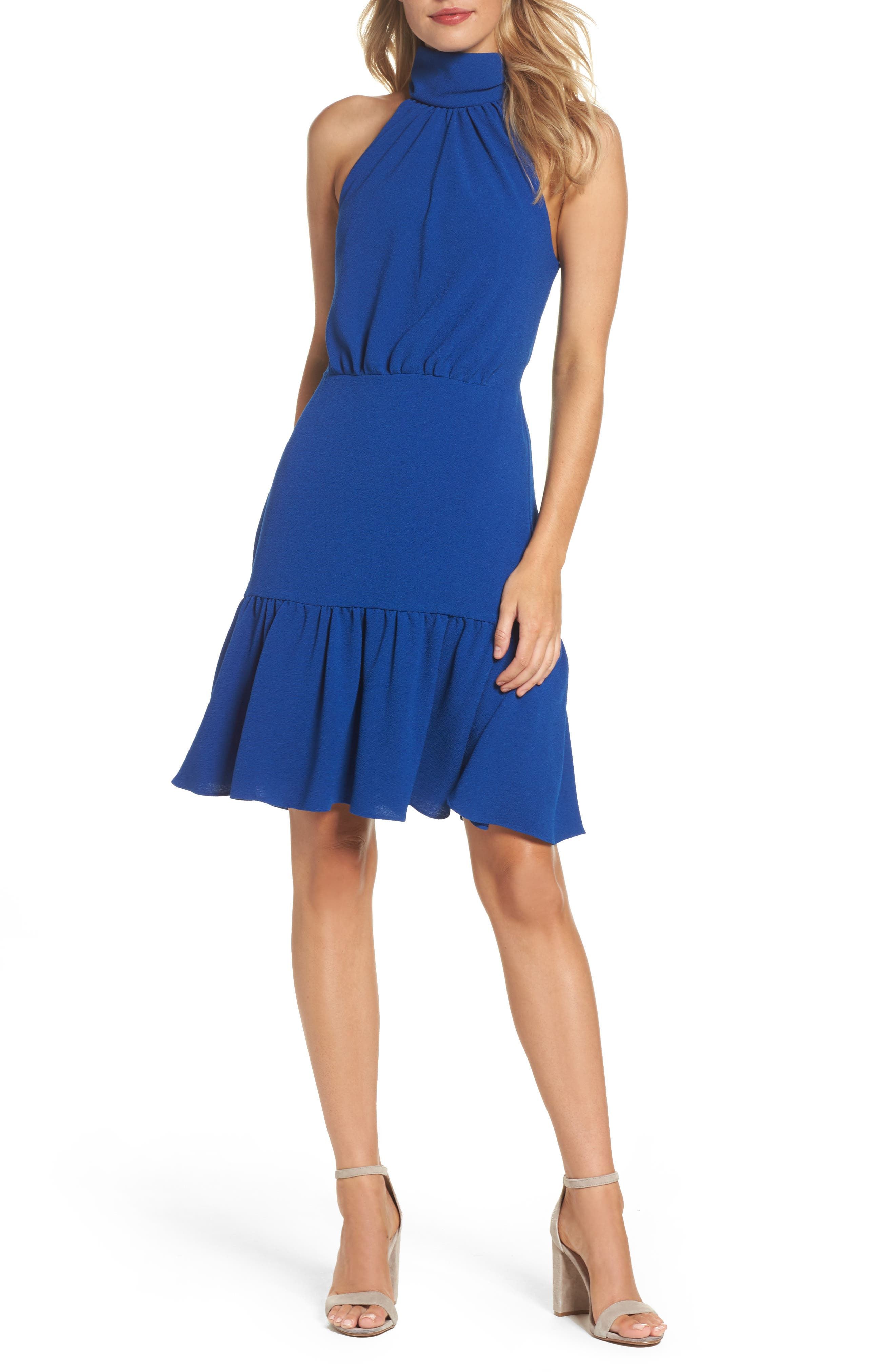 Stretch Crepe Blouson Halter Dress,                         Main,                         color, Ocean