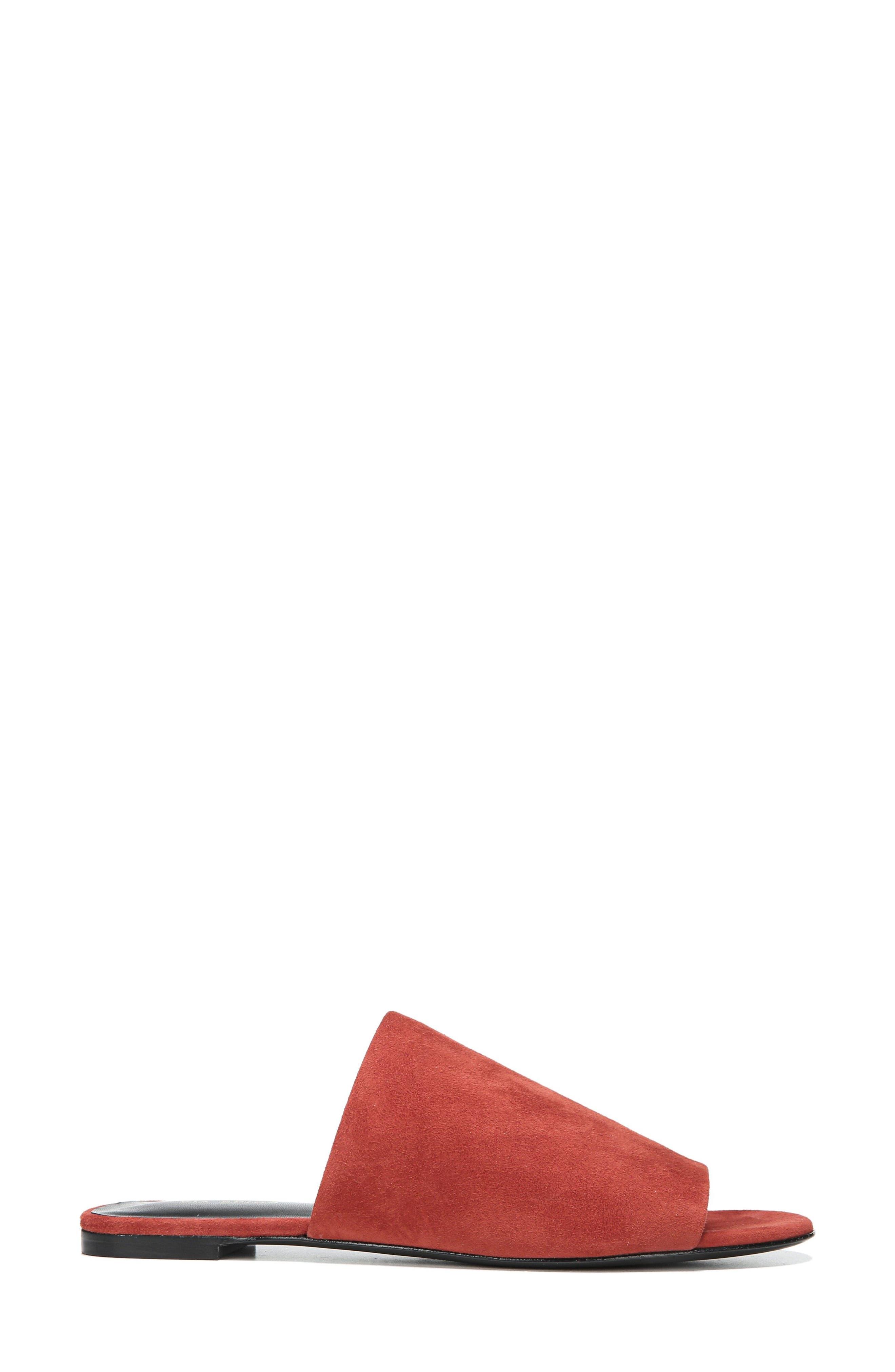 Heather Slide Sandal,                             Alternate thumbnail 3, color,                             Brick Leather