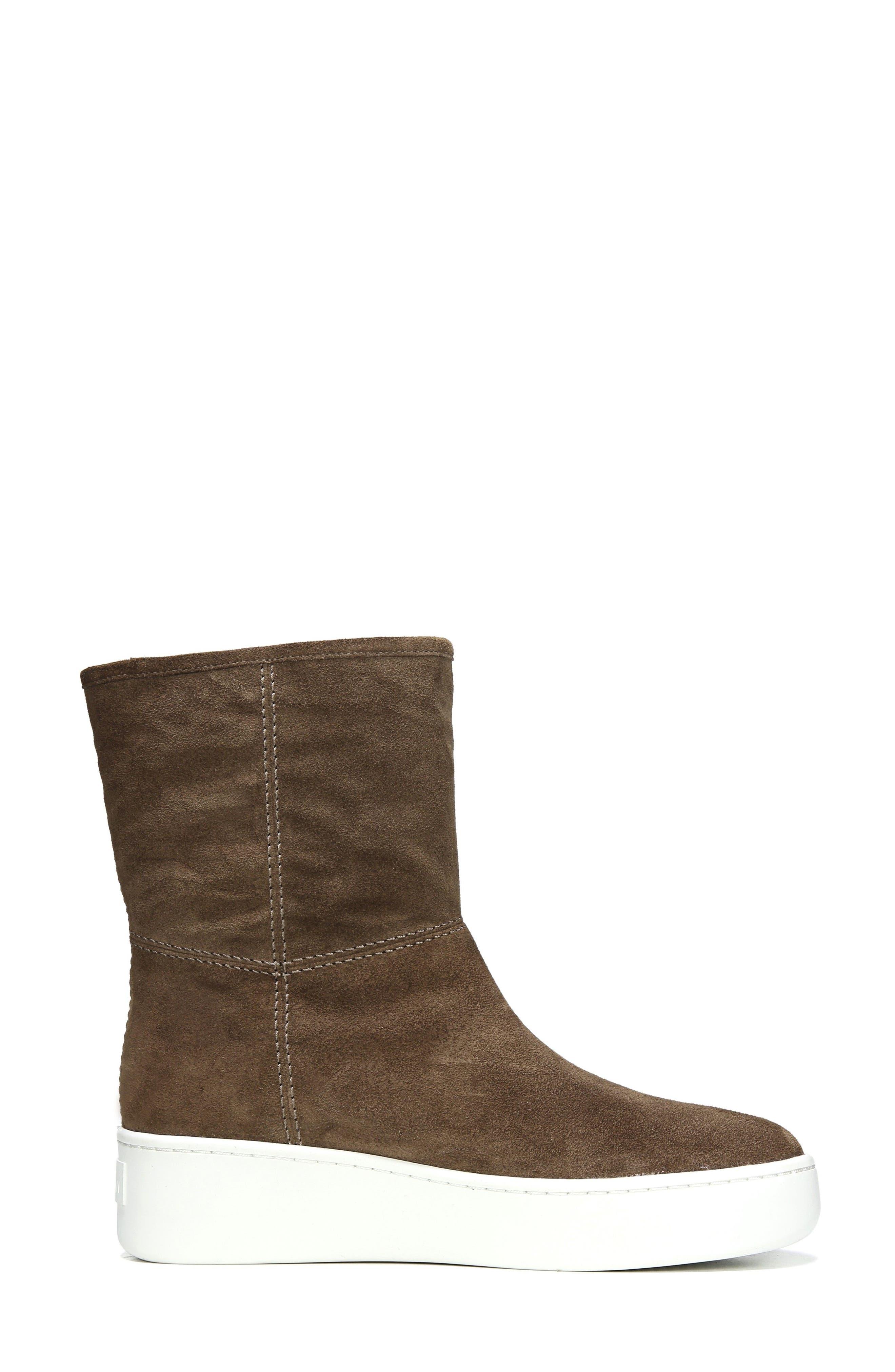 Elona Genuine Shearling Lined Sneaker Boot,                             Alternate thumbnail 3, color,                             Bark Suede