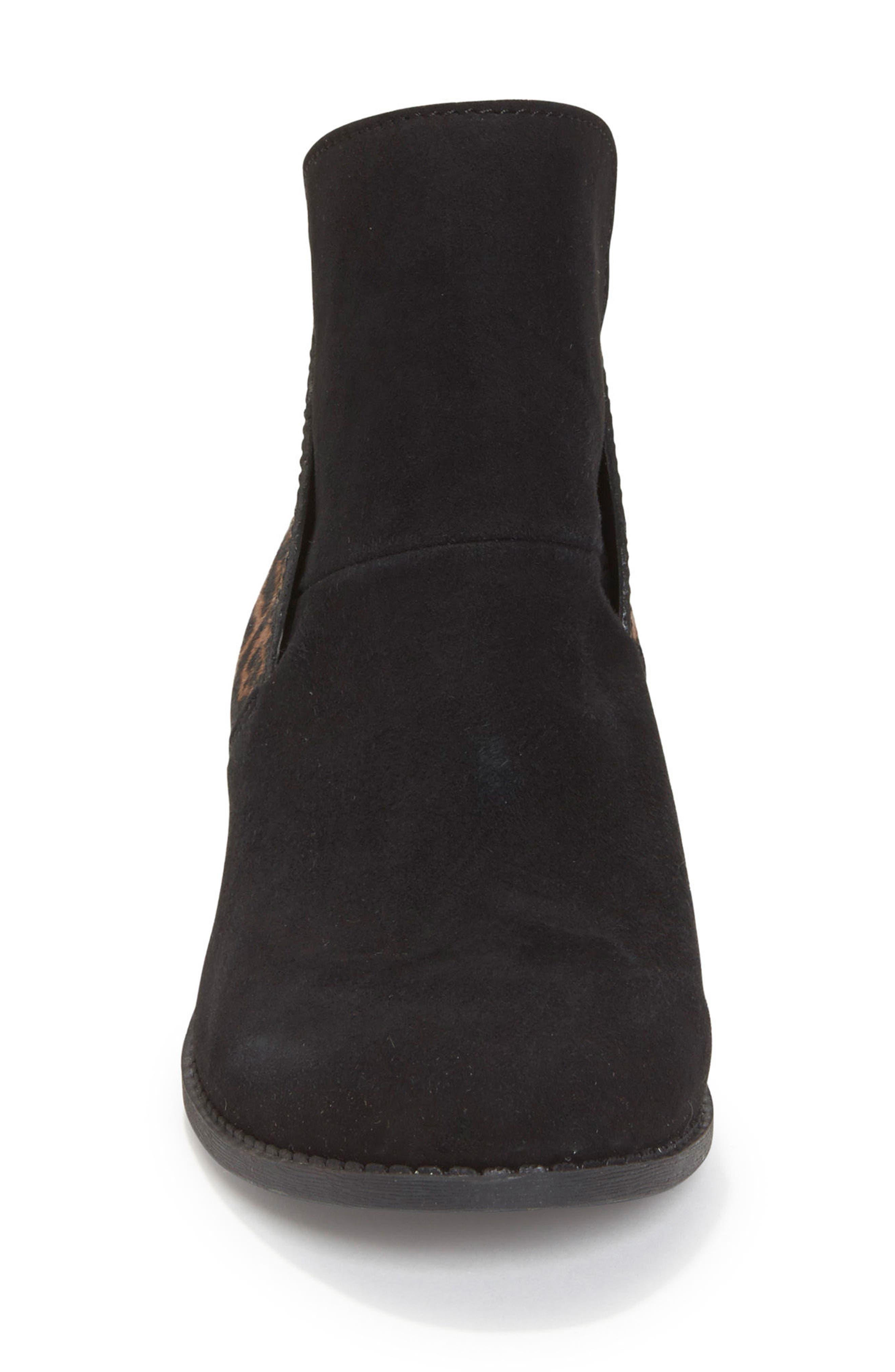 Zena Ankle Boot,                             Alternate thumbnail 4, color,                             Black/ Ash Jaguar Suede
