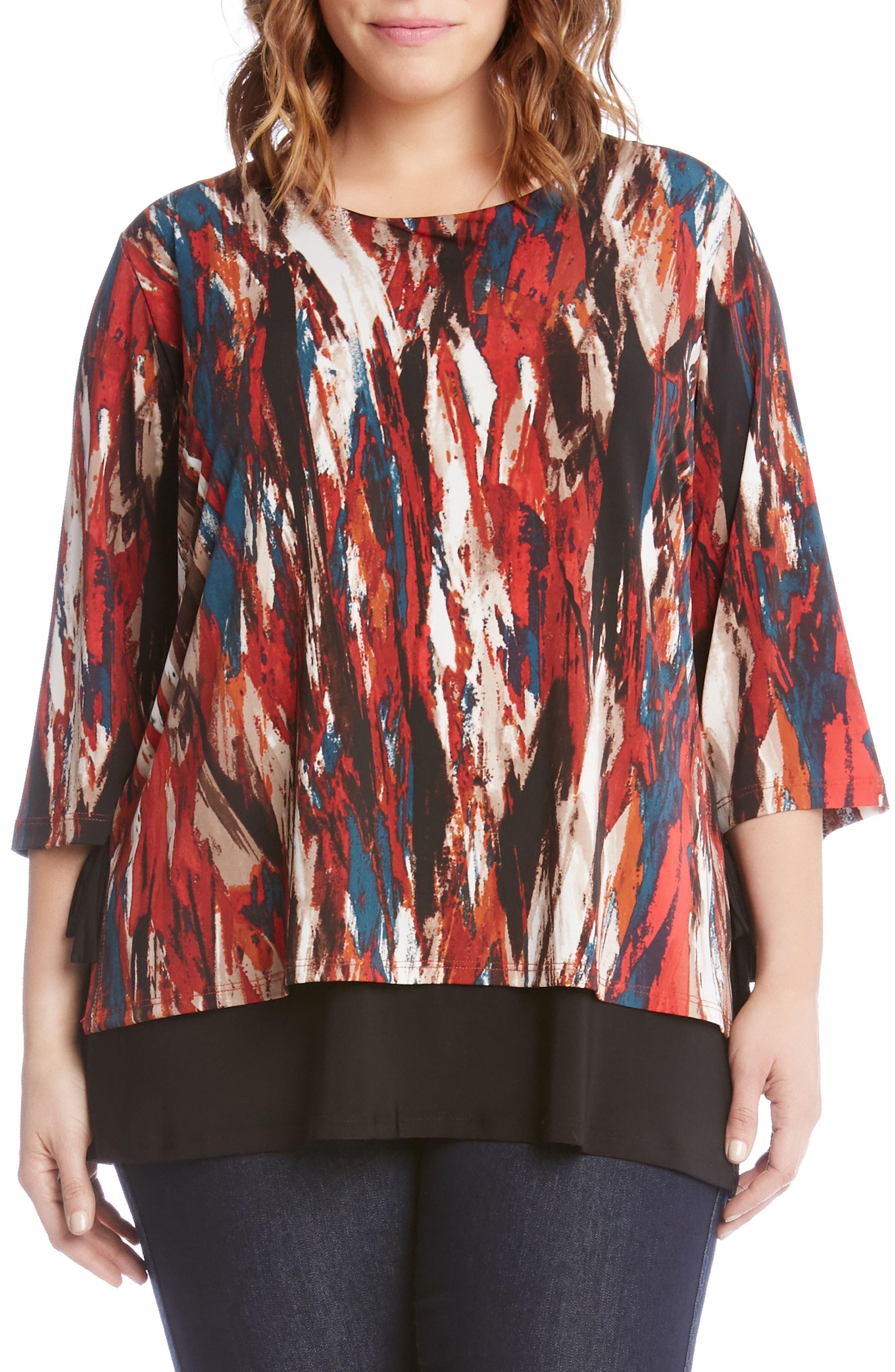 Karen Kane Print Side Tie Top (Plus Size)