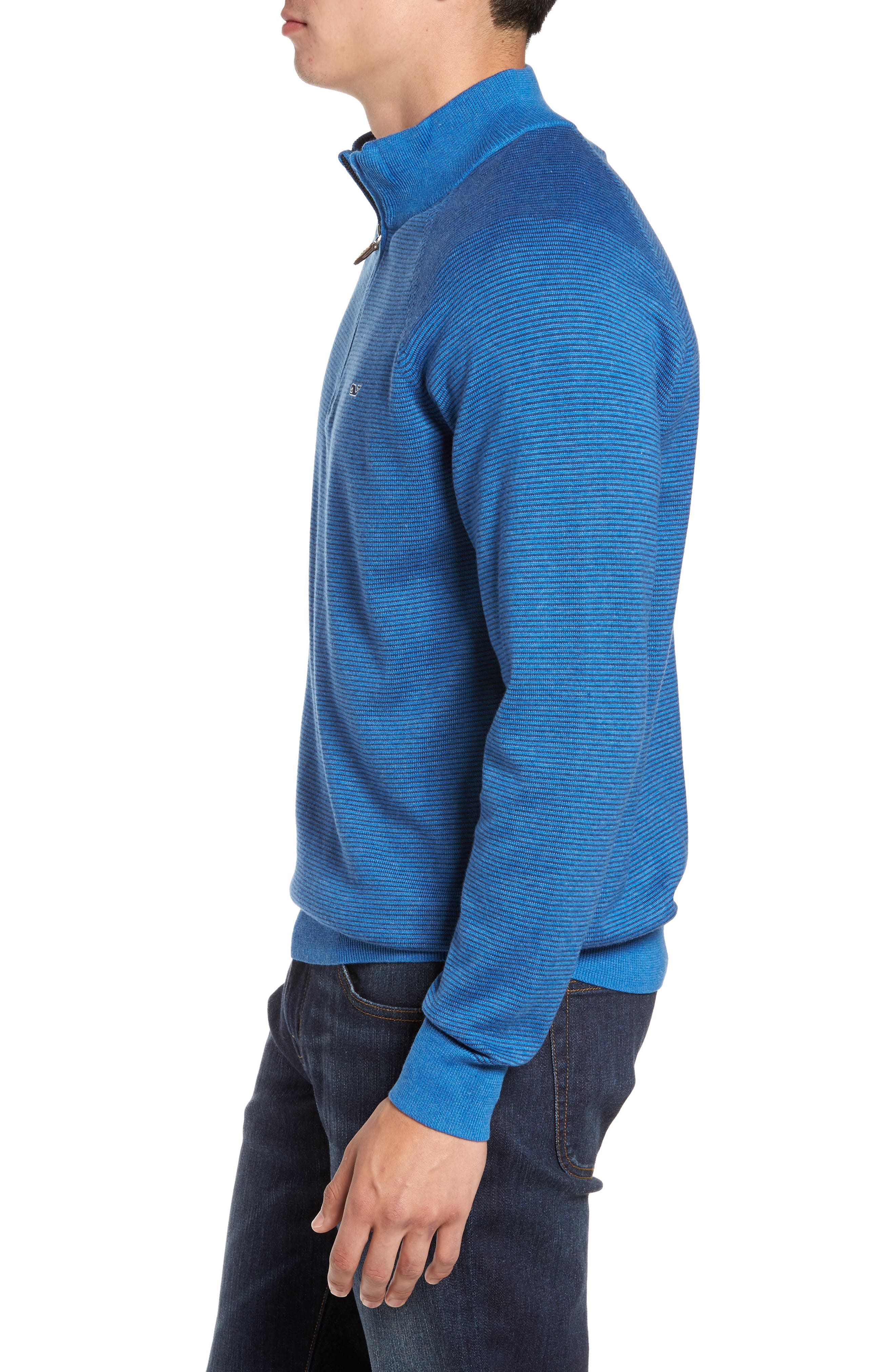 Fine Stripe Quarter Zip Sweater,                             Alternate thumbnail 3, color,                             Regatta Blue