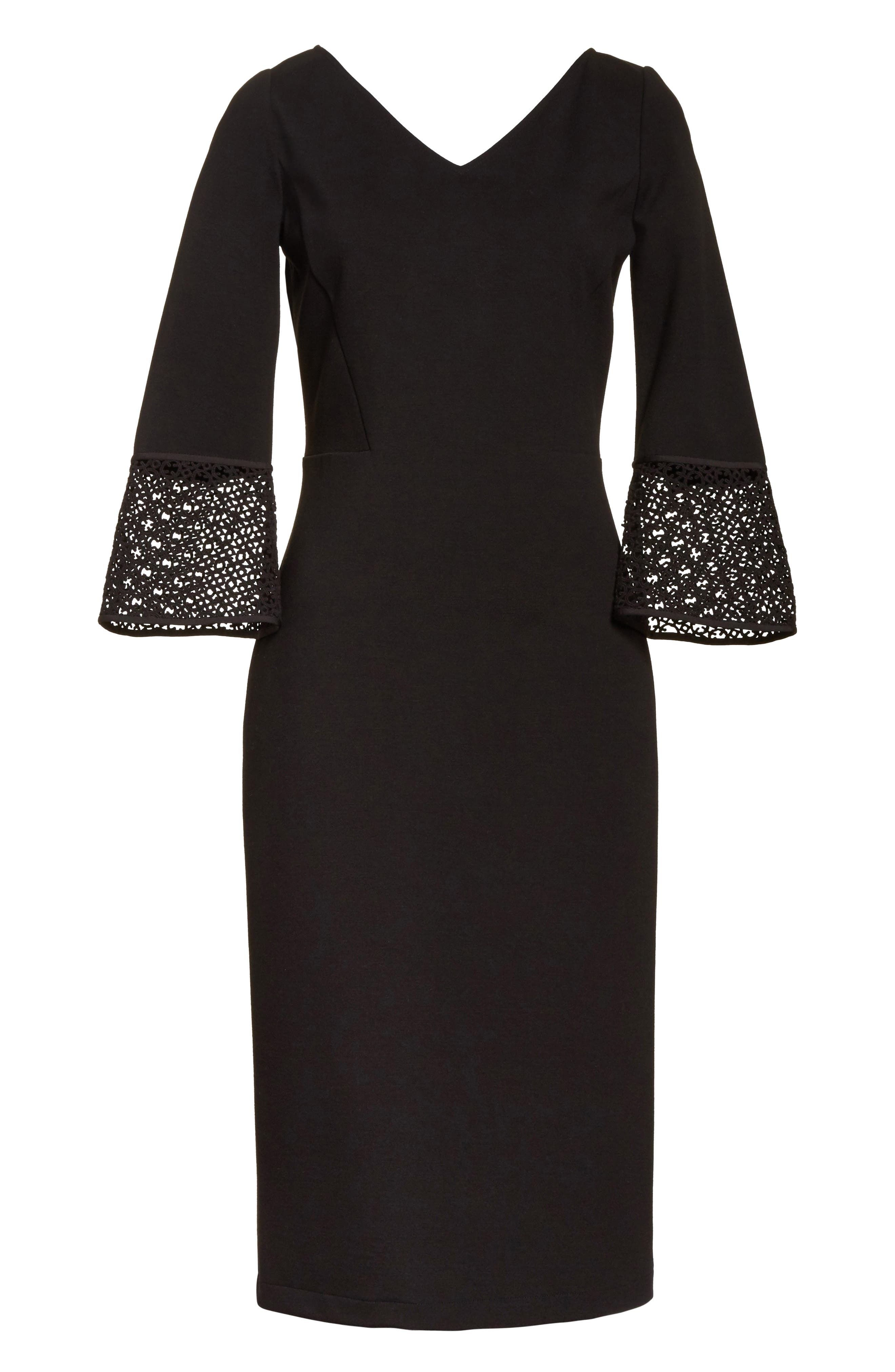 Lace Trim Sheath Dress,                             Alternate thumbnail 6, color,                             Black