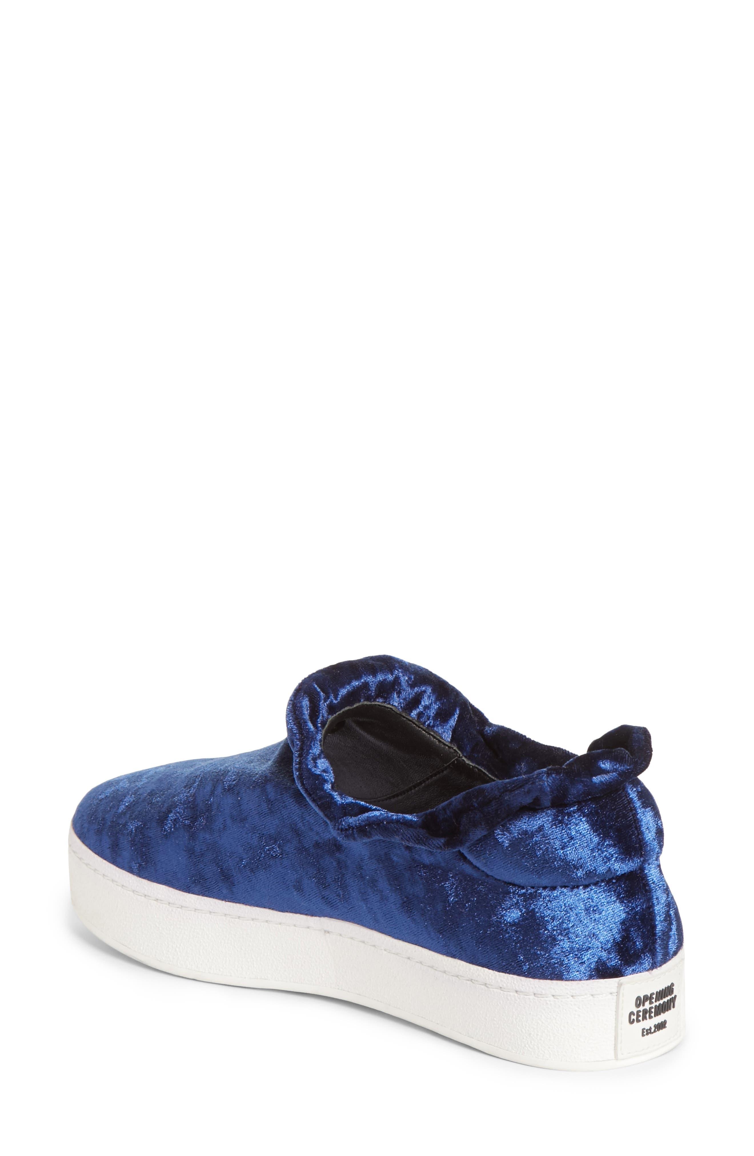 Cici Velvet Ruffle Slip-On Sneaker,                             Alternate thumbnail 2, color,                             Eclipse