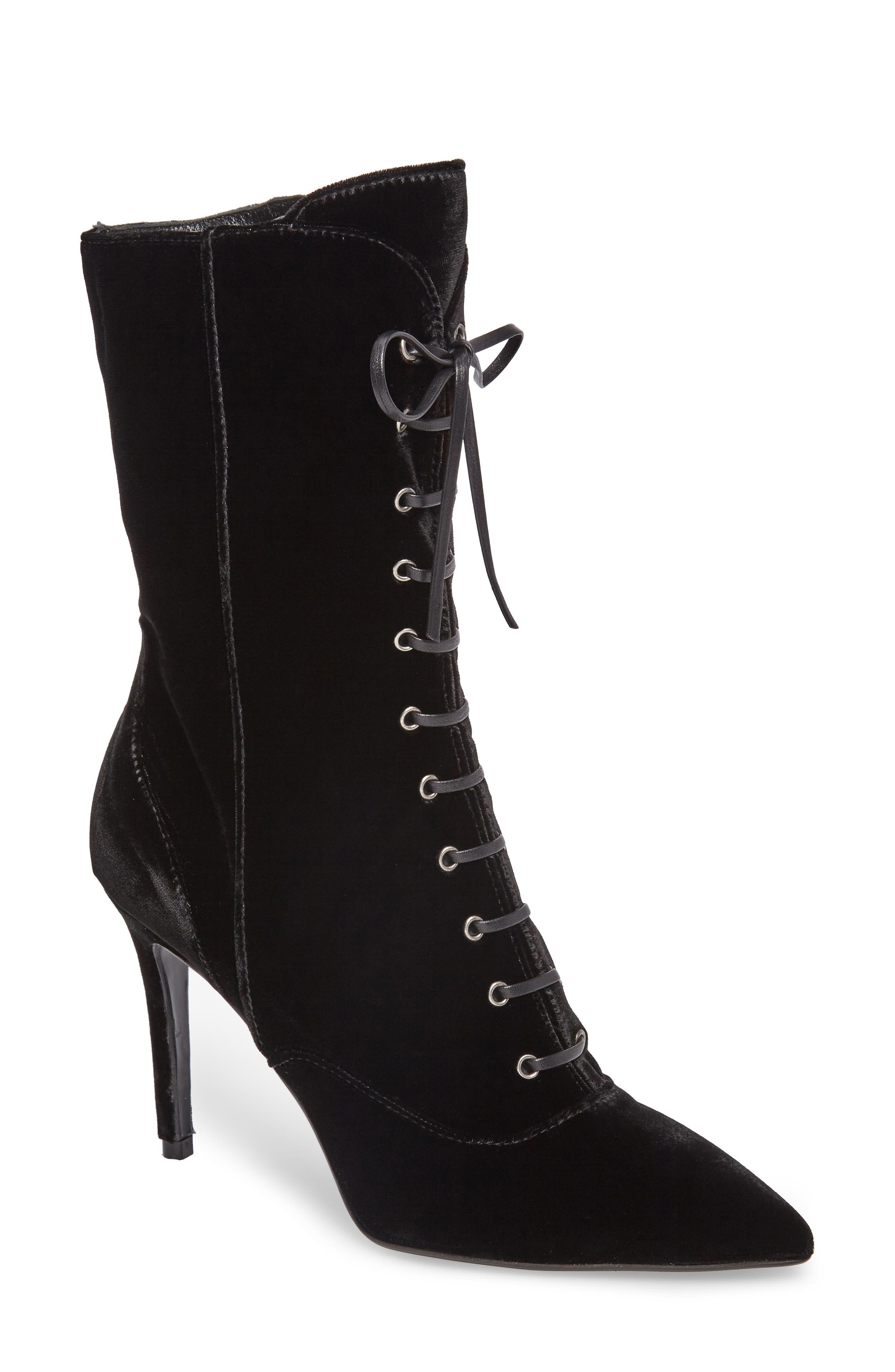 Loretta Pointy Toe Bootie,                         Main,                         color, Black Velvet