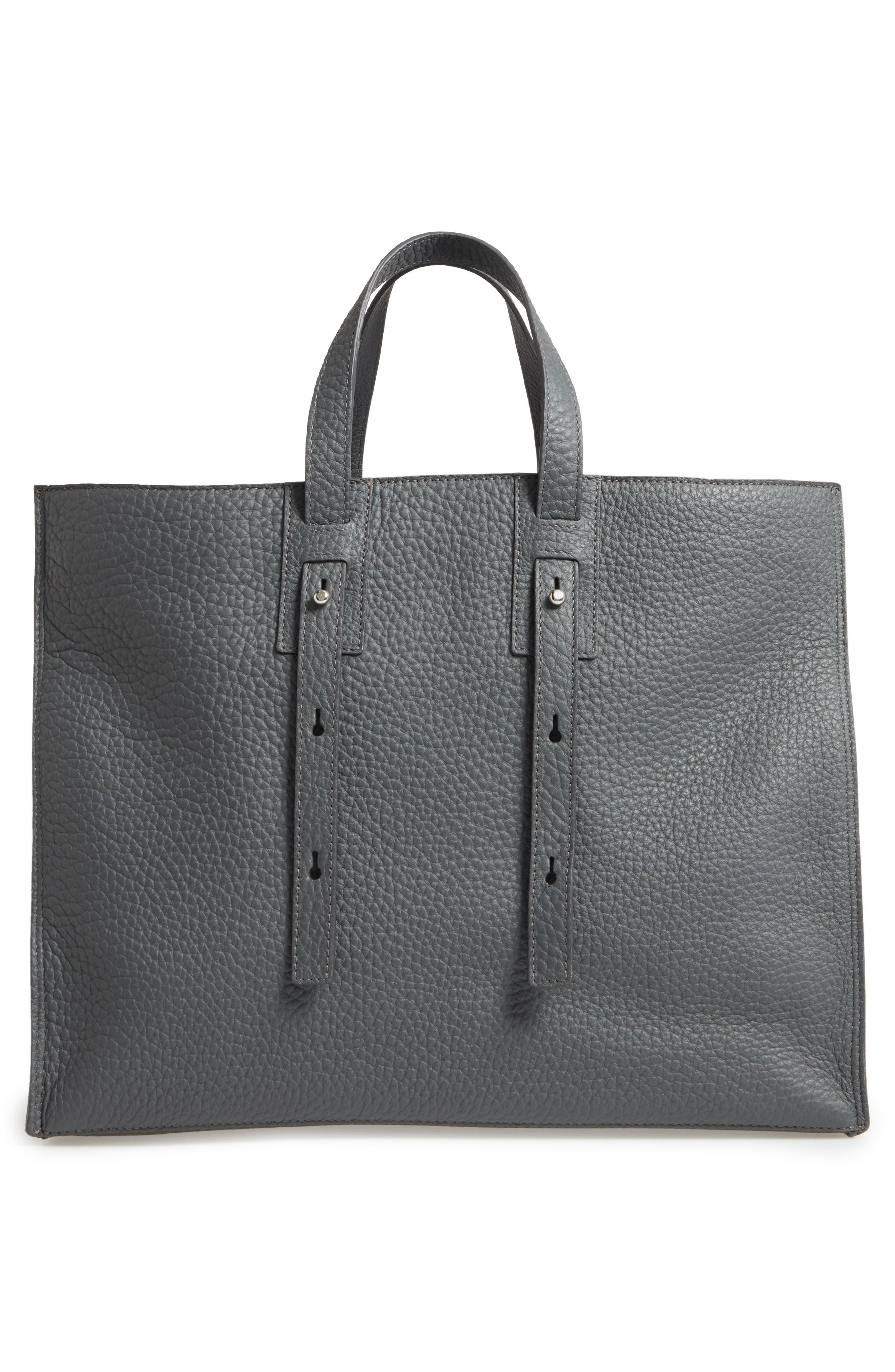 Petra Soft Calfskin Leather Tote,                             Alternate thumbnail 2, color,                             Smoke