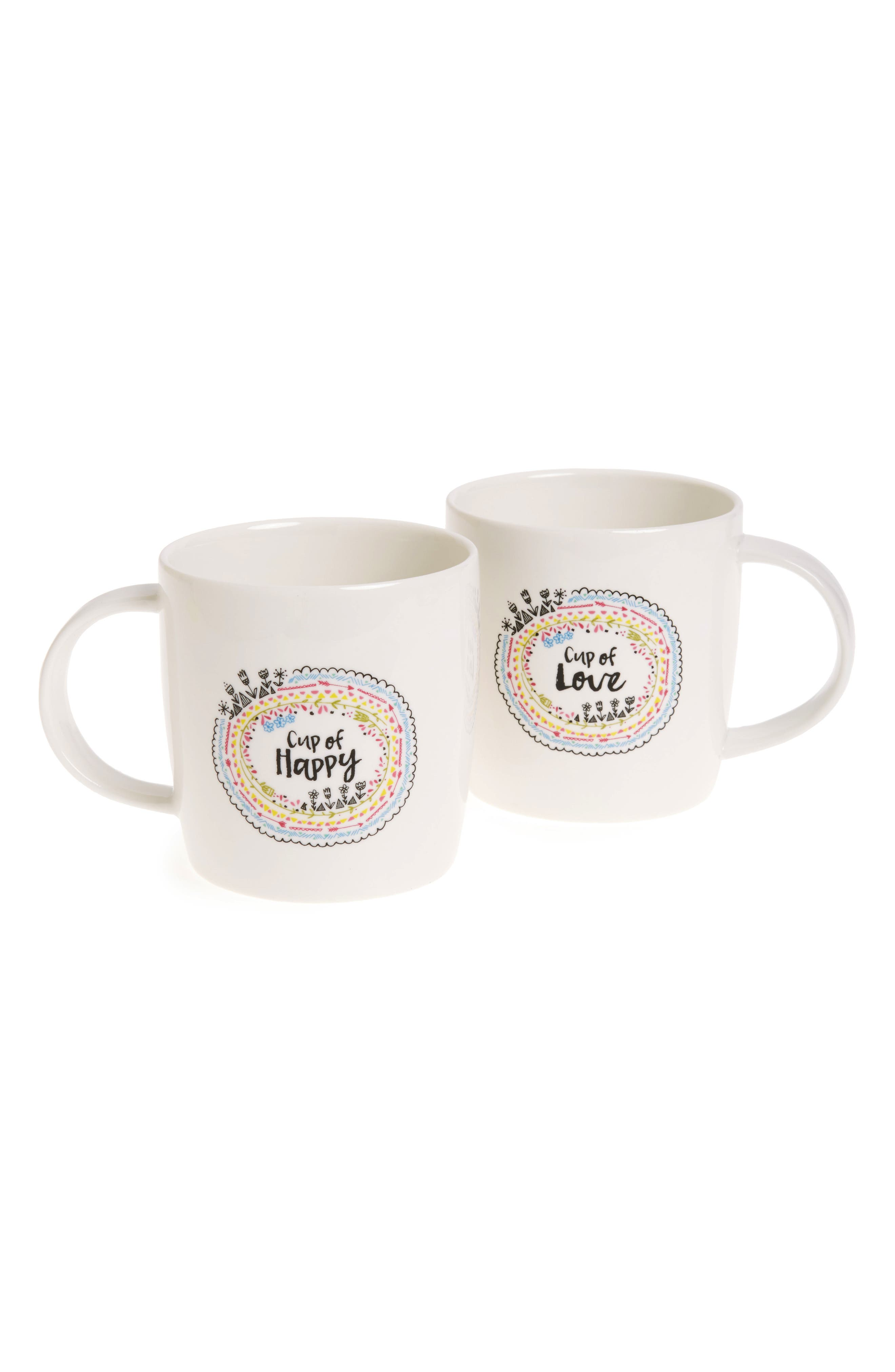 Cup of Happy & Cup of Love Set of 2 Mugs,                             Main thumbnail 1, color,                             Ivory