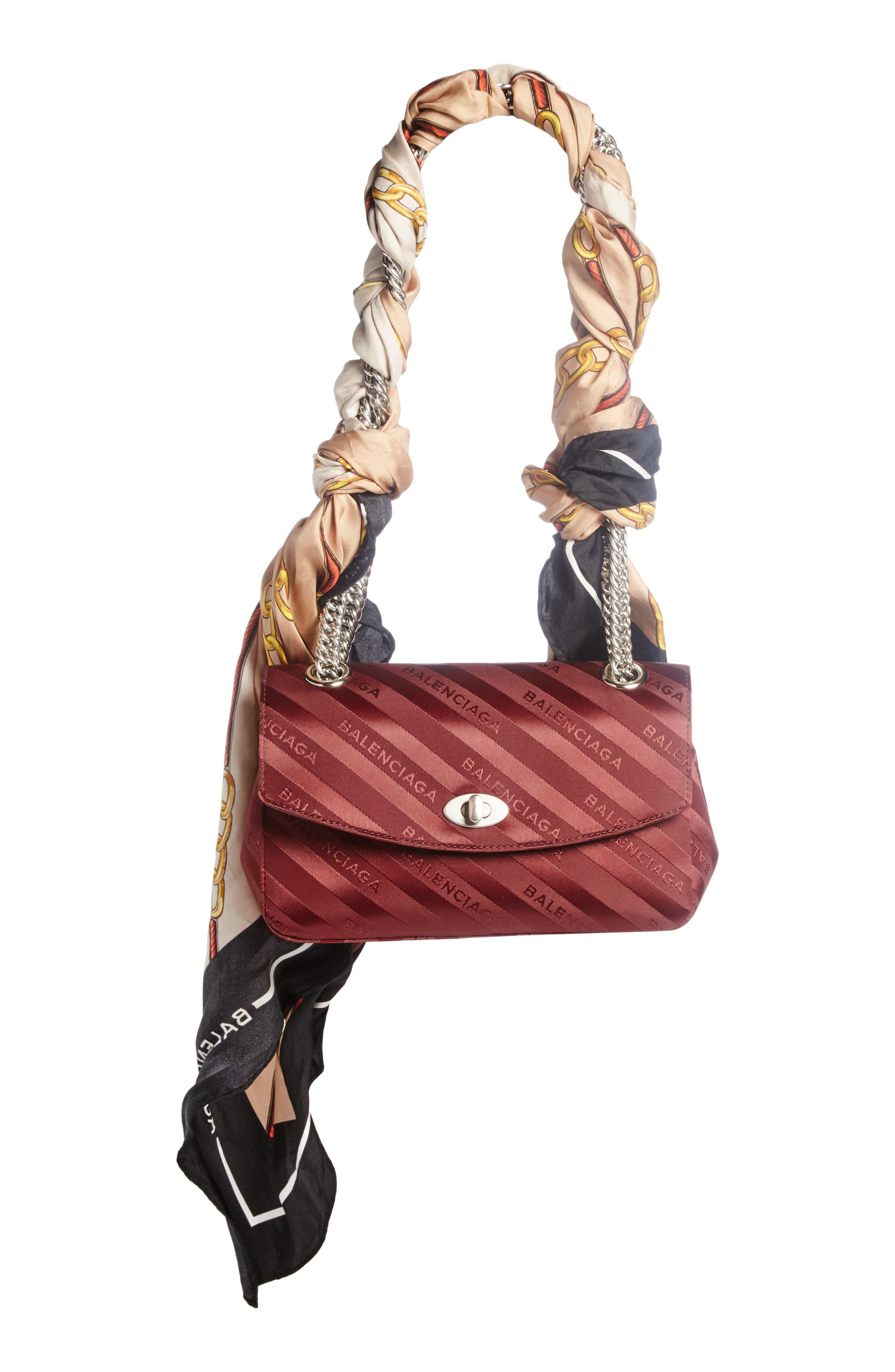 BALENCIAGA Small Lock Round Logo Shoulder Bag with Silk Scarf