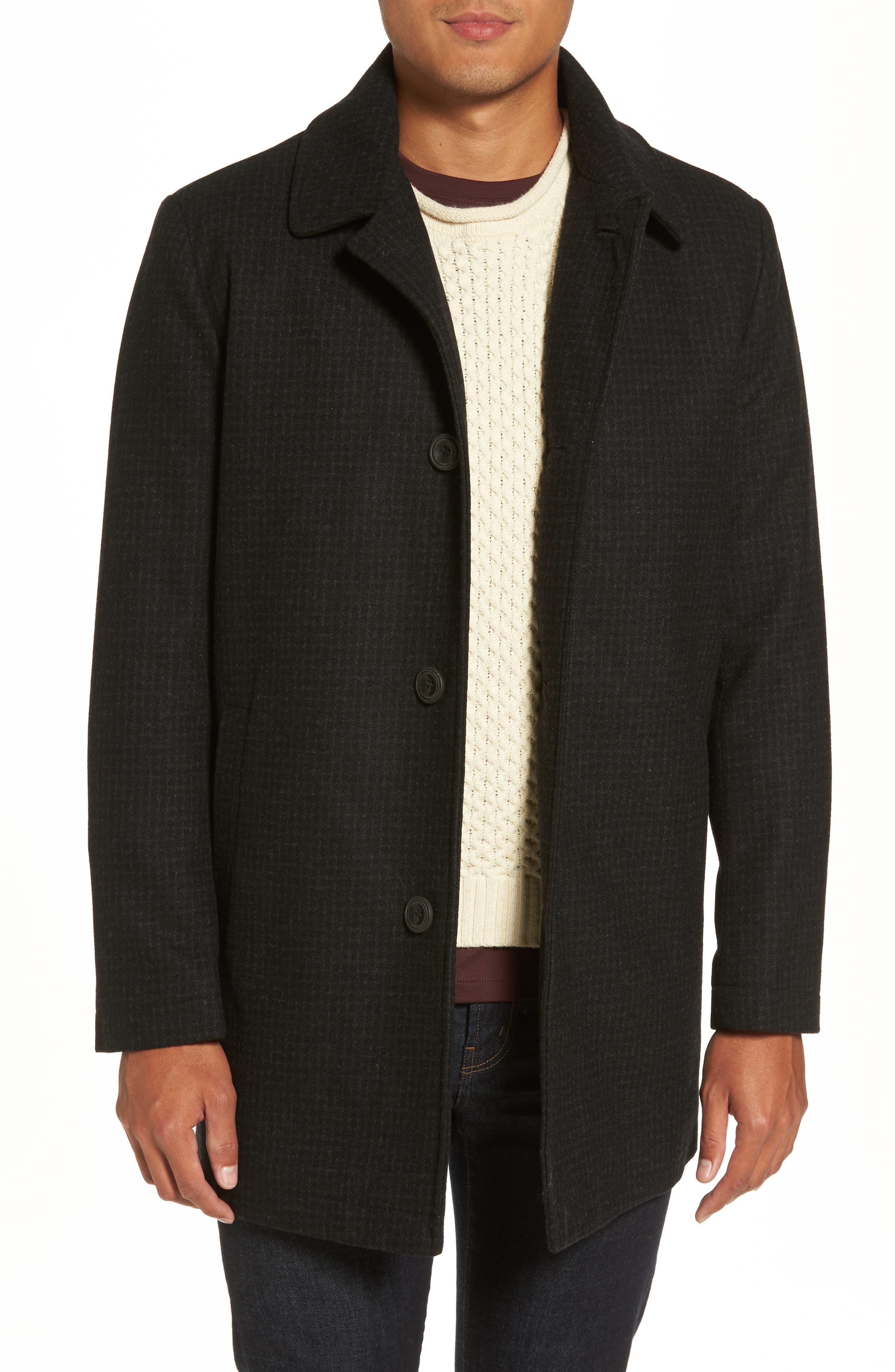 Wool Blend Car Coat,                         Main,                         color, Black