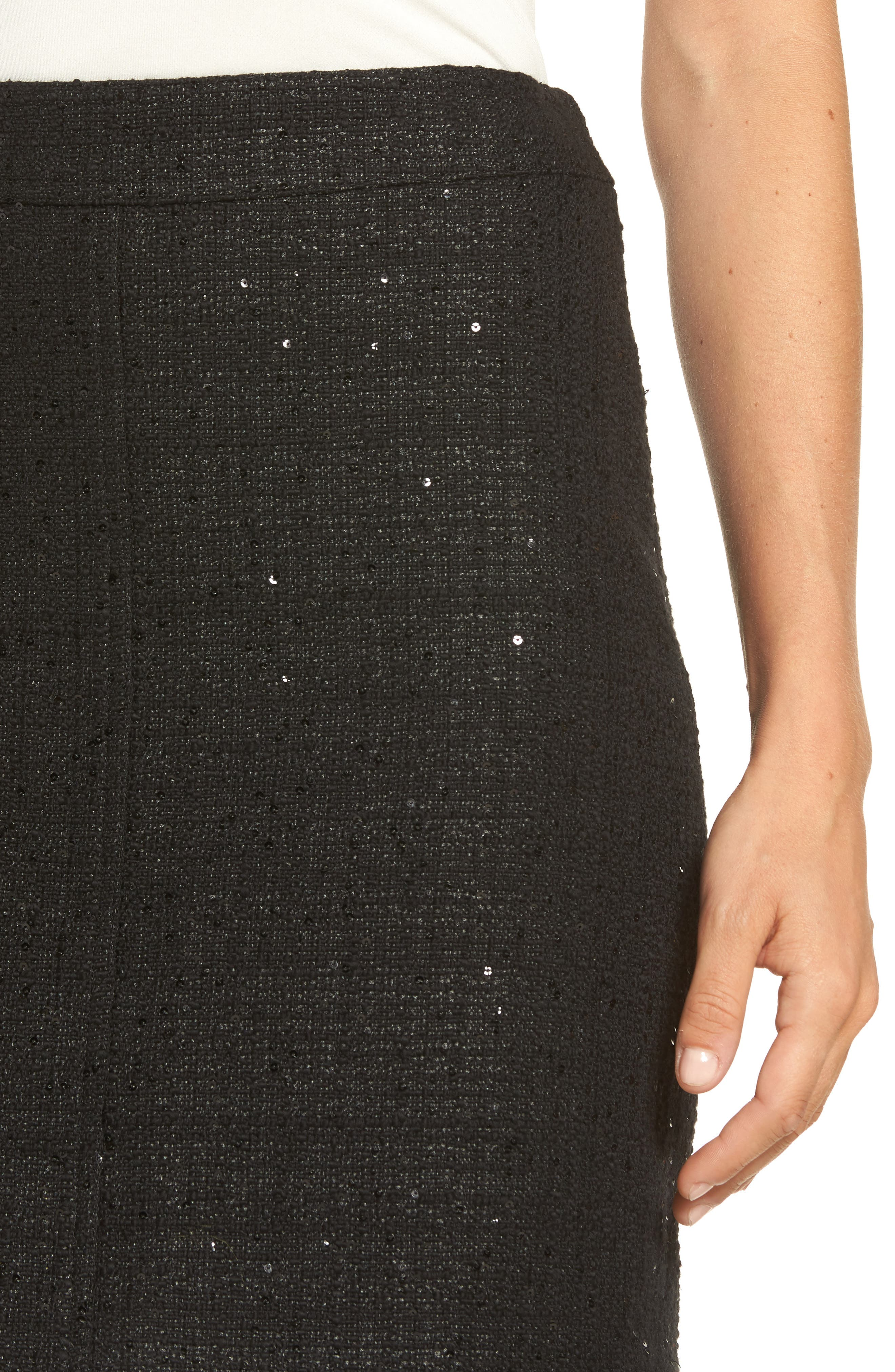 Sequin Tweed Skirt,                             Alternate thumbnail 4, color,                             Black/ Black