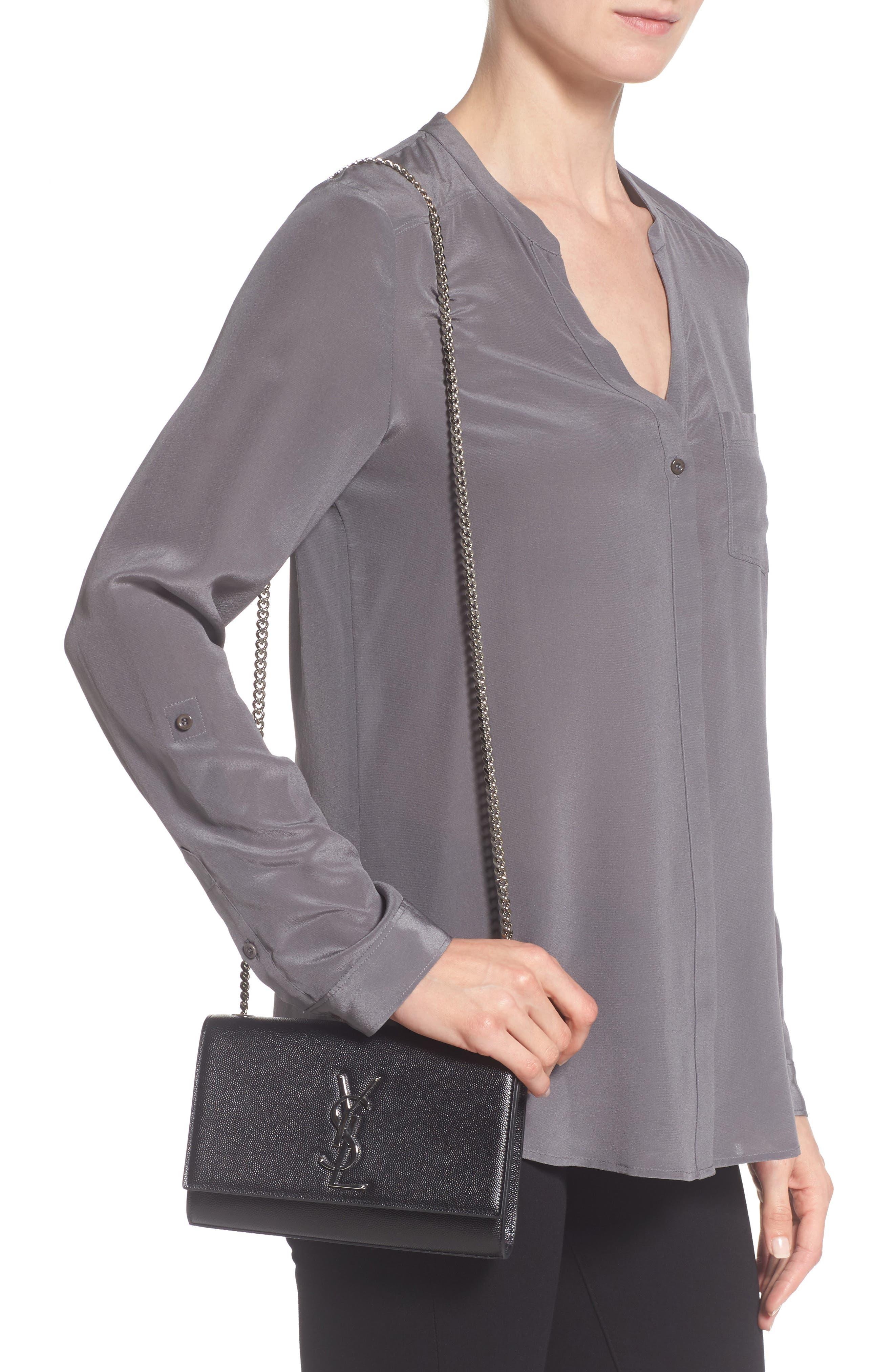 Small Kate Grained Leather Crossbody Bag,                             Alternate thumbnail 2, color,                             Noir
