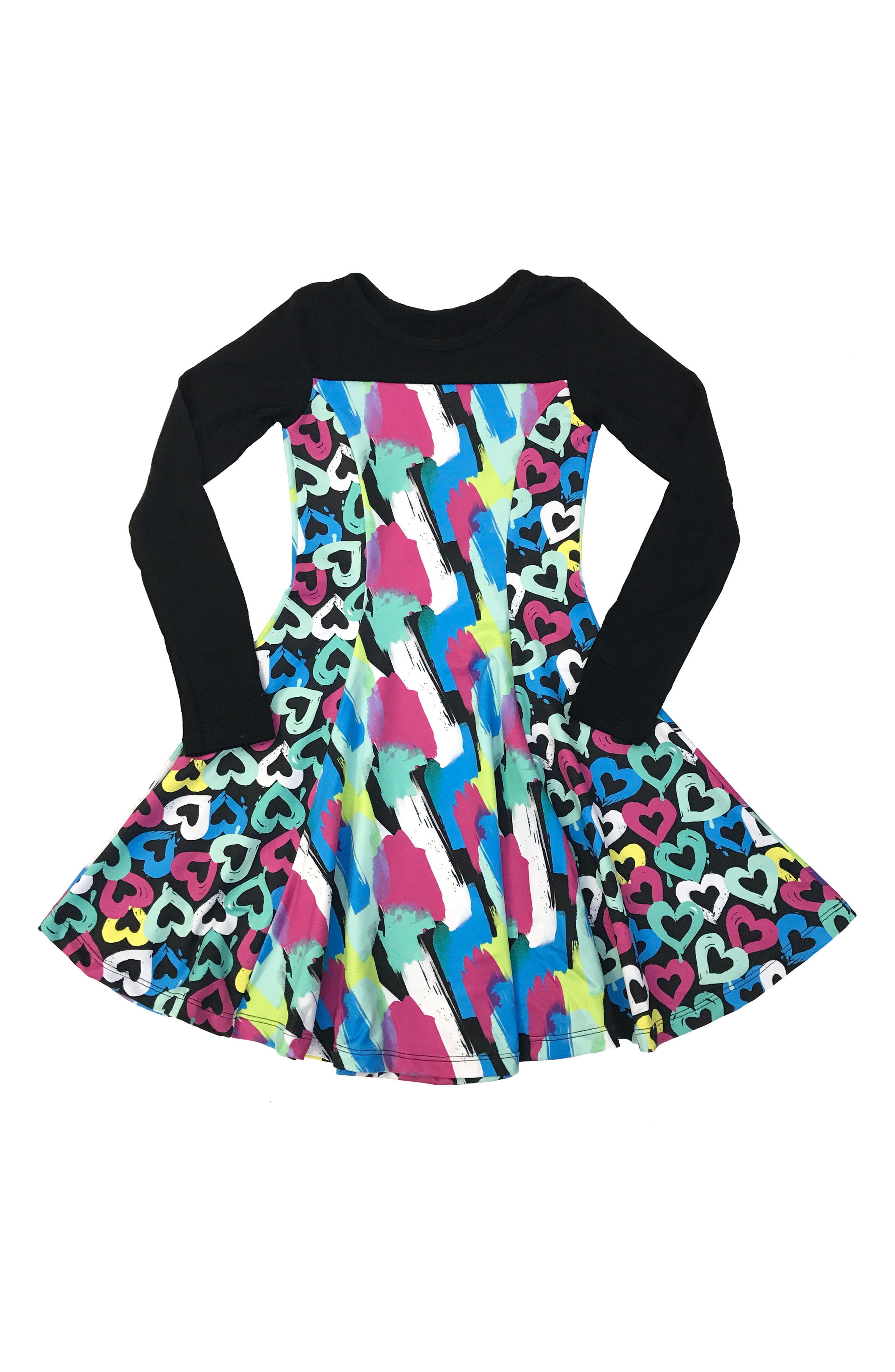 CHOOZE Lead Mixed Print Skater Dress (Little Girls & Big Girls)