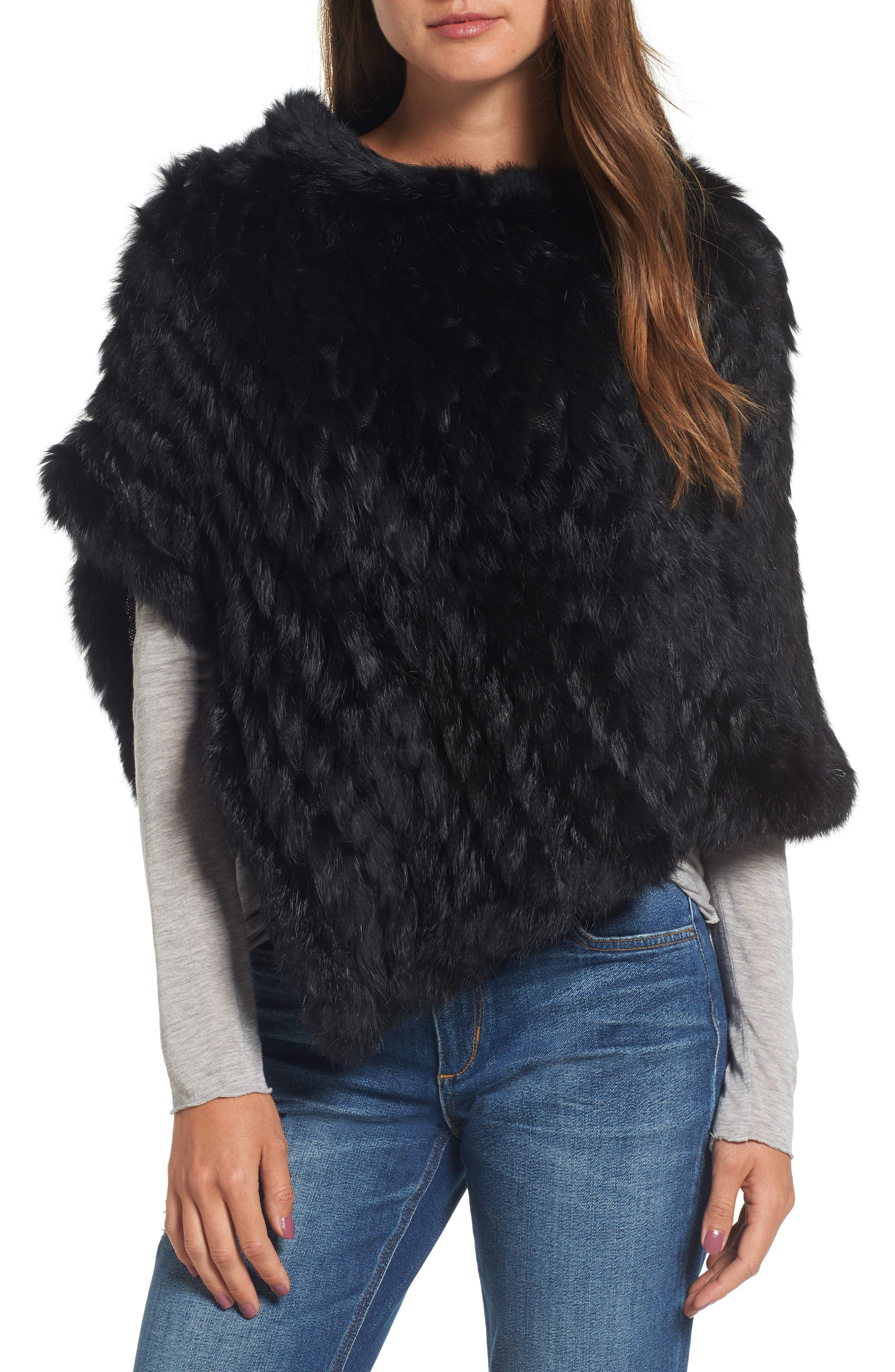 Main Image - La Fiorentina Genuine Rabbit Fur Poncho