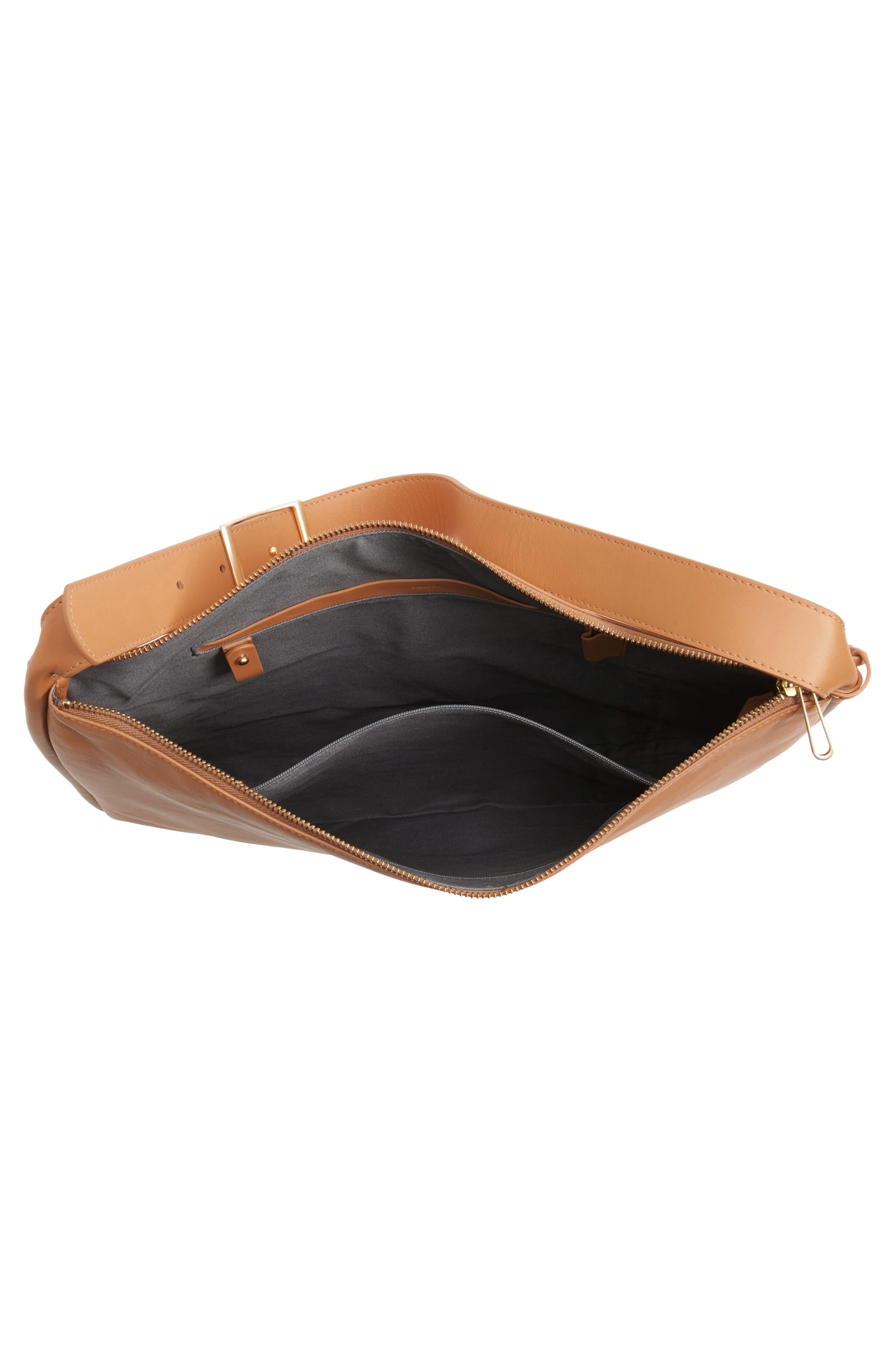Anesa Leather Shoulder Bag,                             Alternate thumbnail 4, color,                             Tan