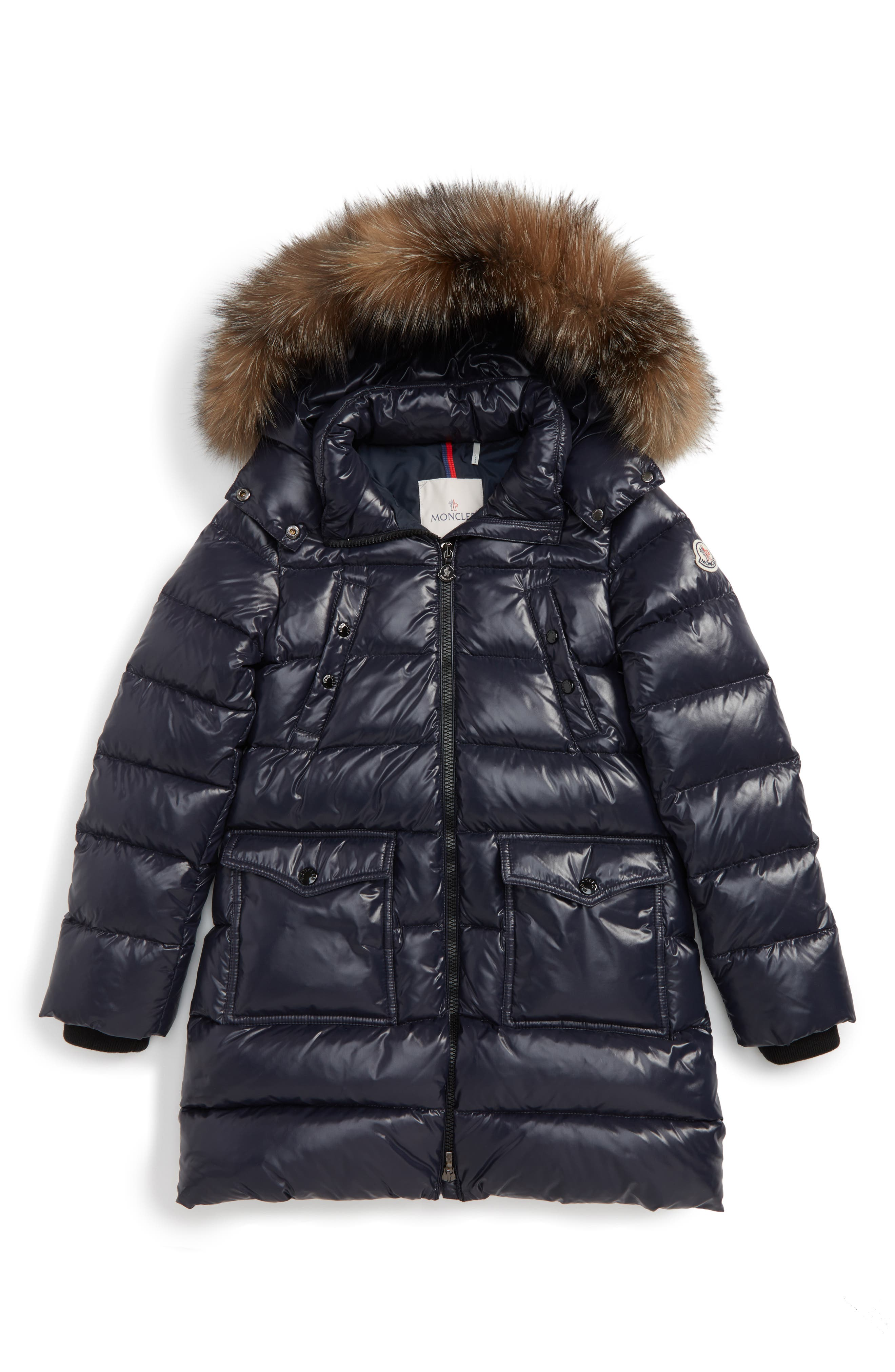 Fragont Down Parka with Genuine Fox Fur Trim,                         Main,                         color, Navy