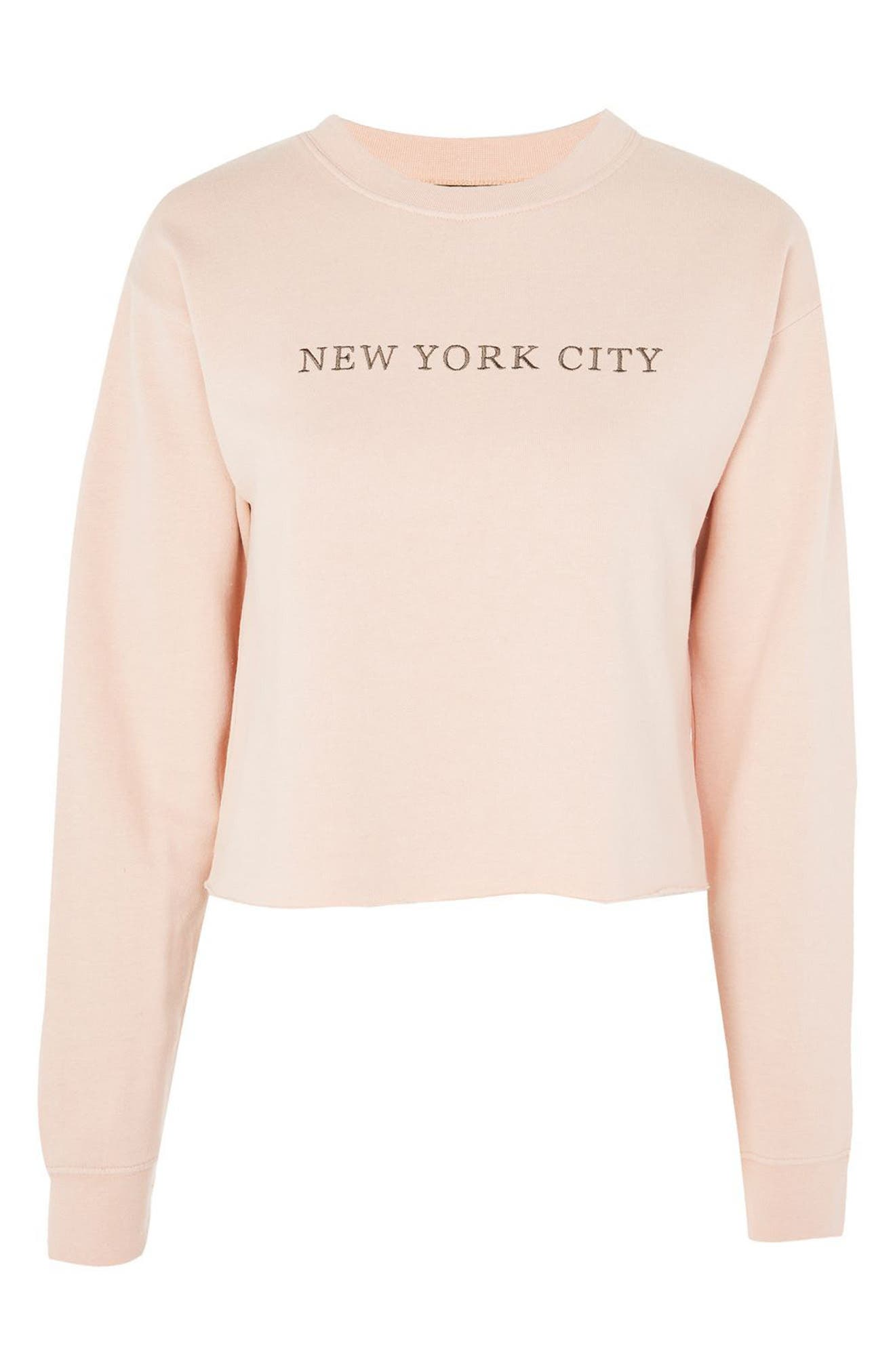 New York City Embroidered Sweatshirt,                             Alternate thumbnail 3, color,                             Pink