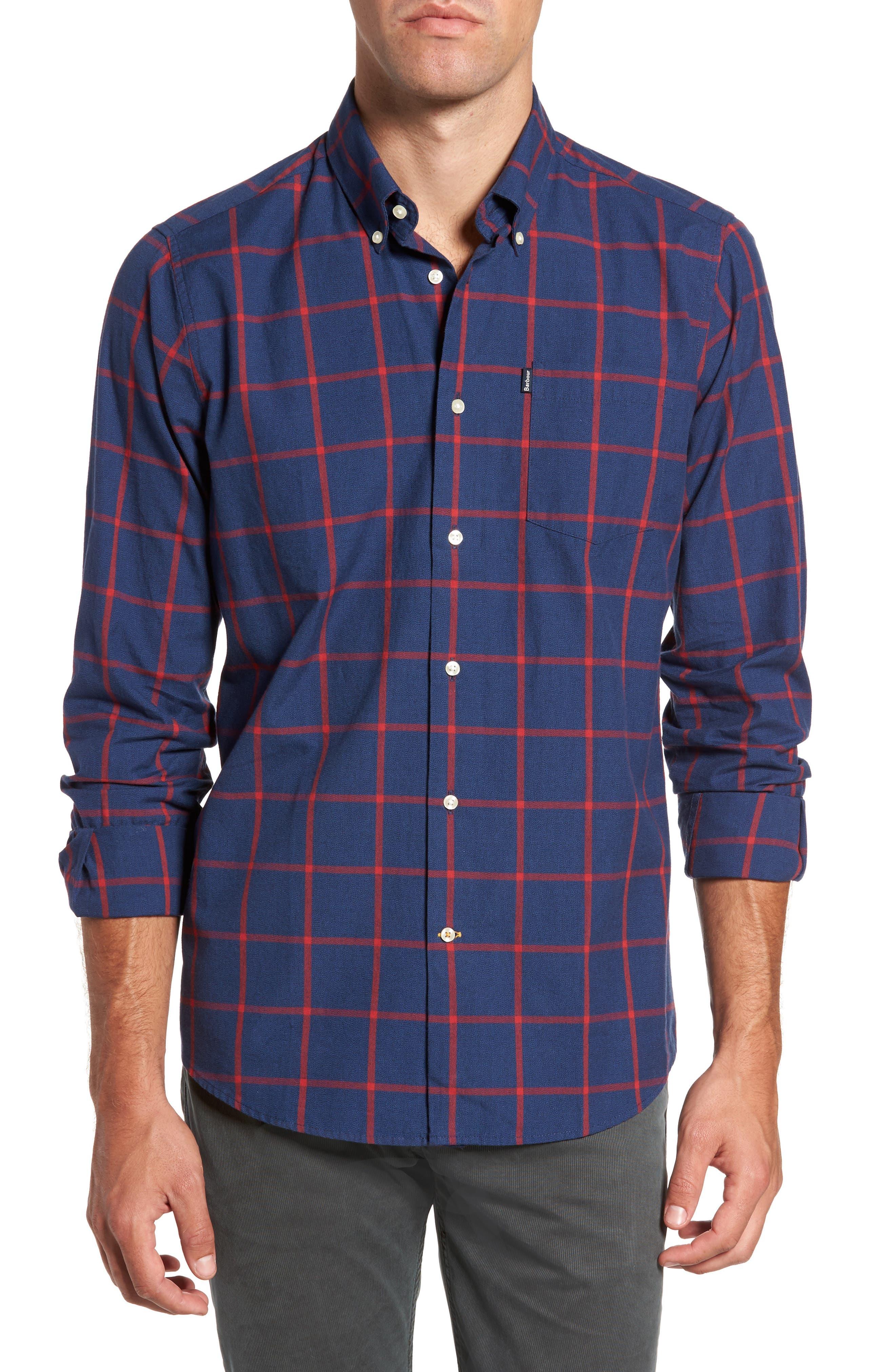 Baxter Tattersall Sport Shirt,                         Main,                         color, Navy