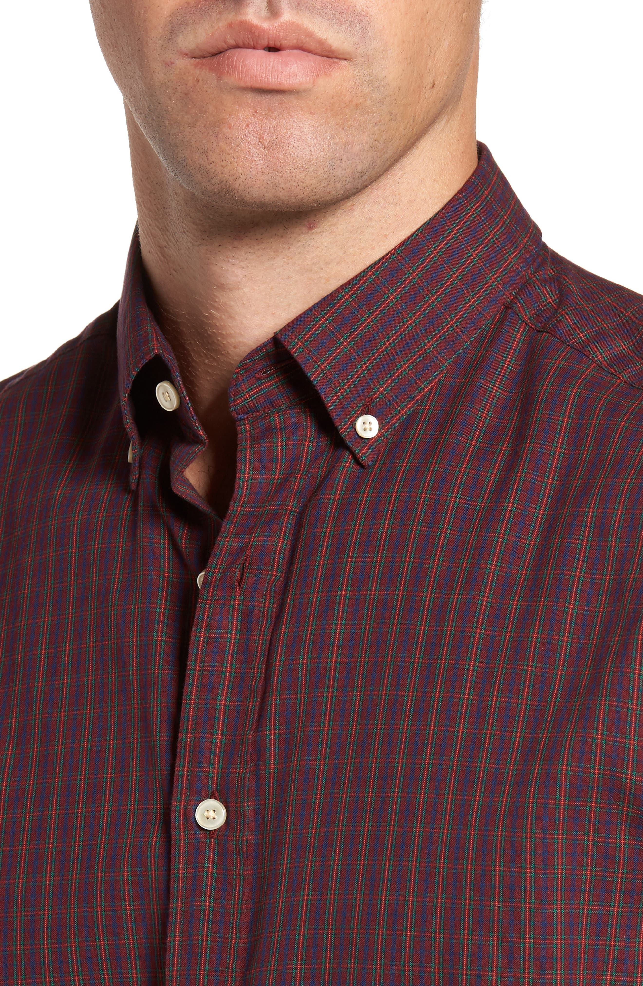Windblown Slim Fit Oxford Sport Shirt,                             Alternate thumbnail 4, color,                             Purple Wine