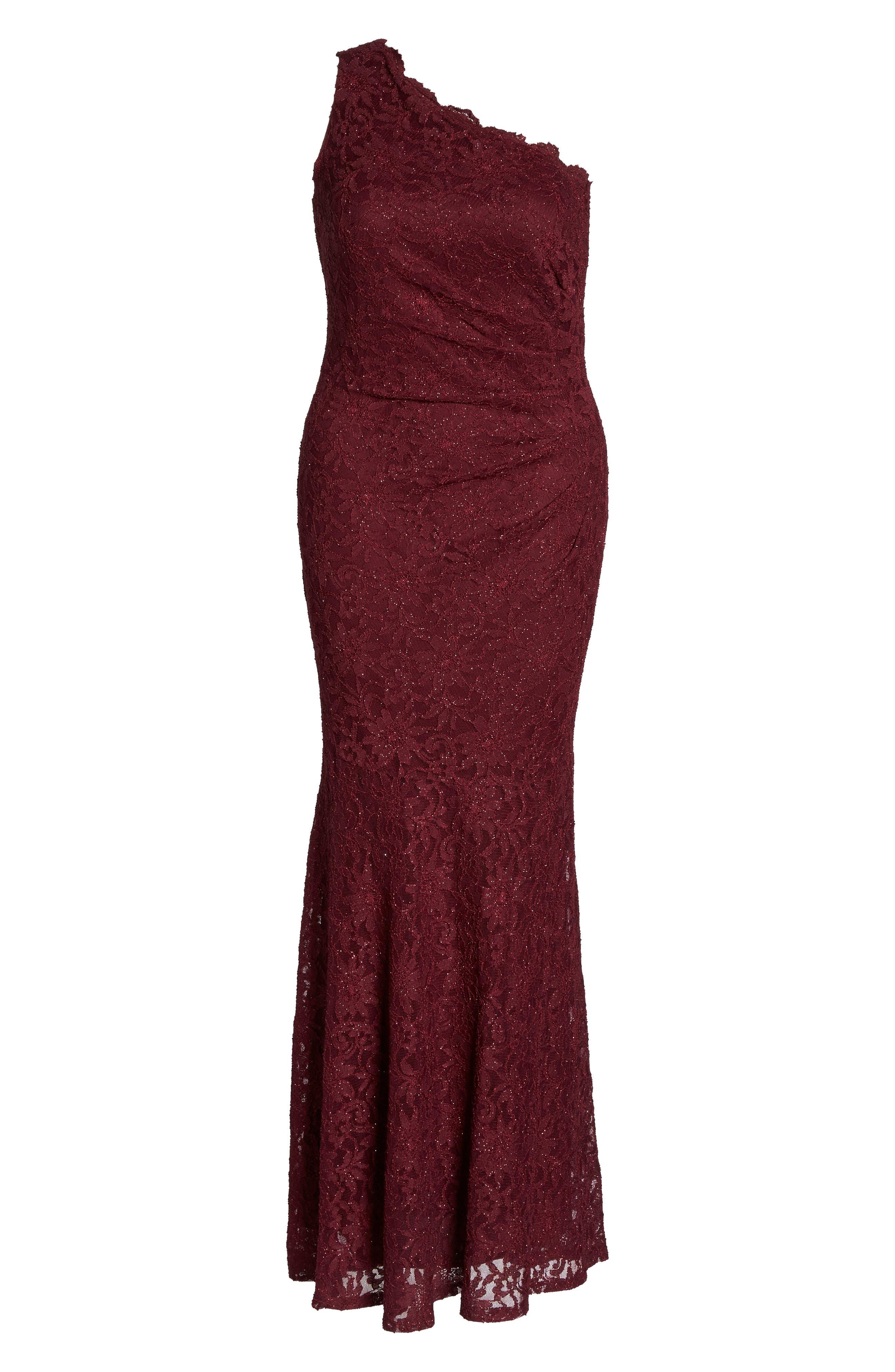 One Shoulder Glitter Lace Gown,                             Alternate thumbnail 6, color,                             Merlot