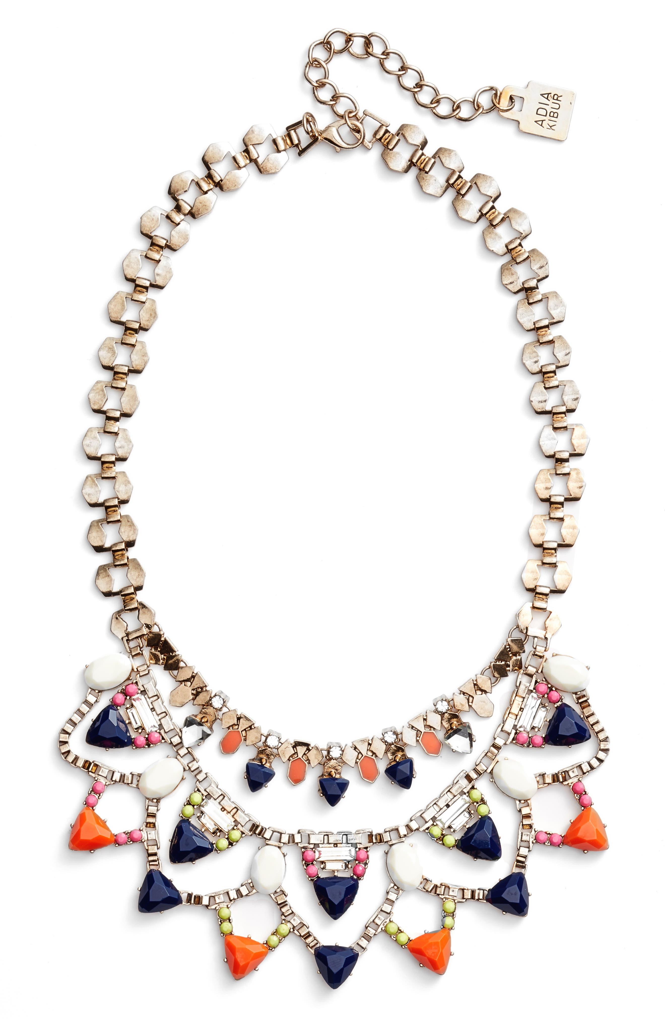 Layered Stone Bib Necklace,                             Main thumbnail 1, color,                             Orange Blue