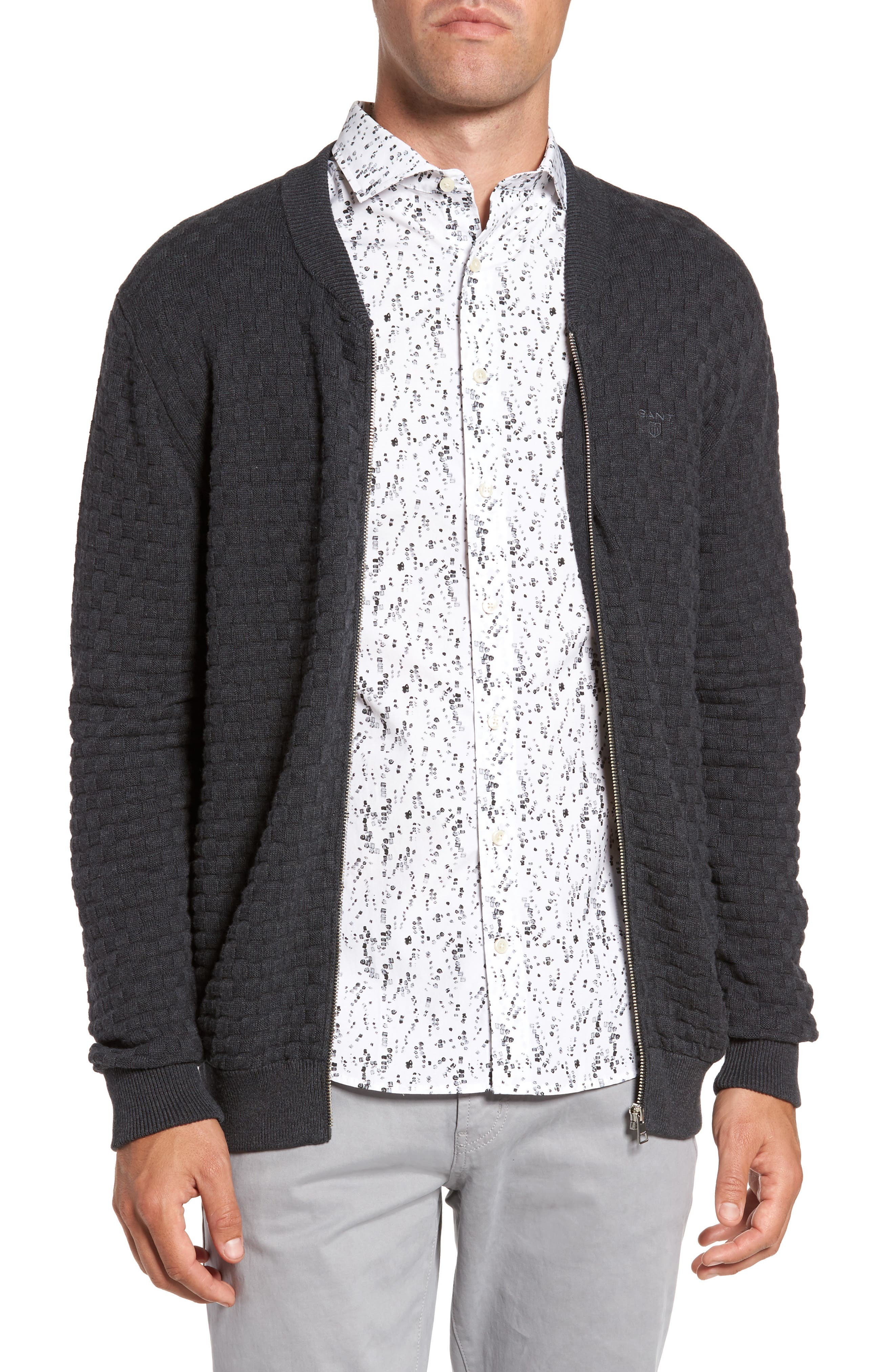 Main Image - Gant Basket Weave Zip Cardigan